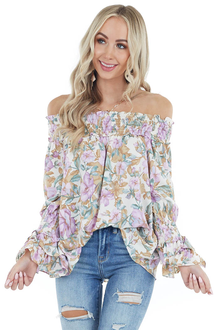 Cream Floral Print Off the Shoulder Top with Smocked Detail