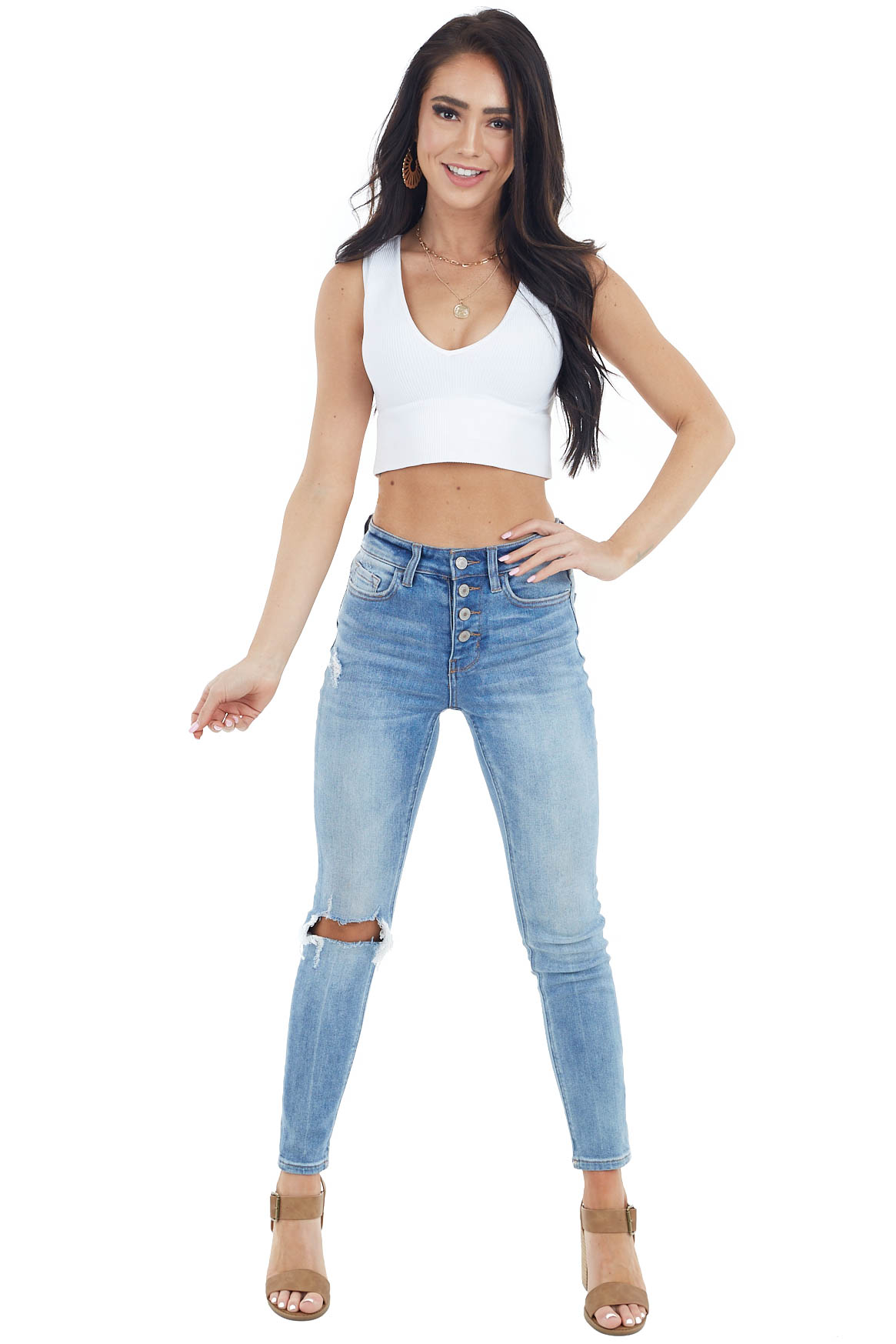 Off White Ribbed Knit Crop Top with V Neckline