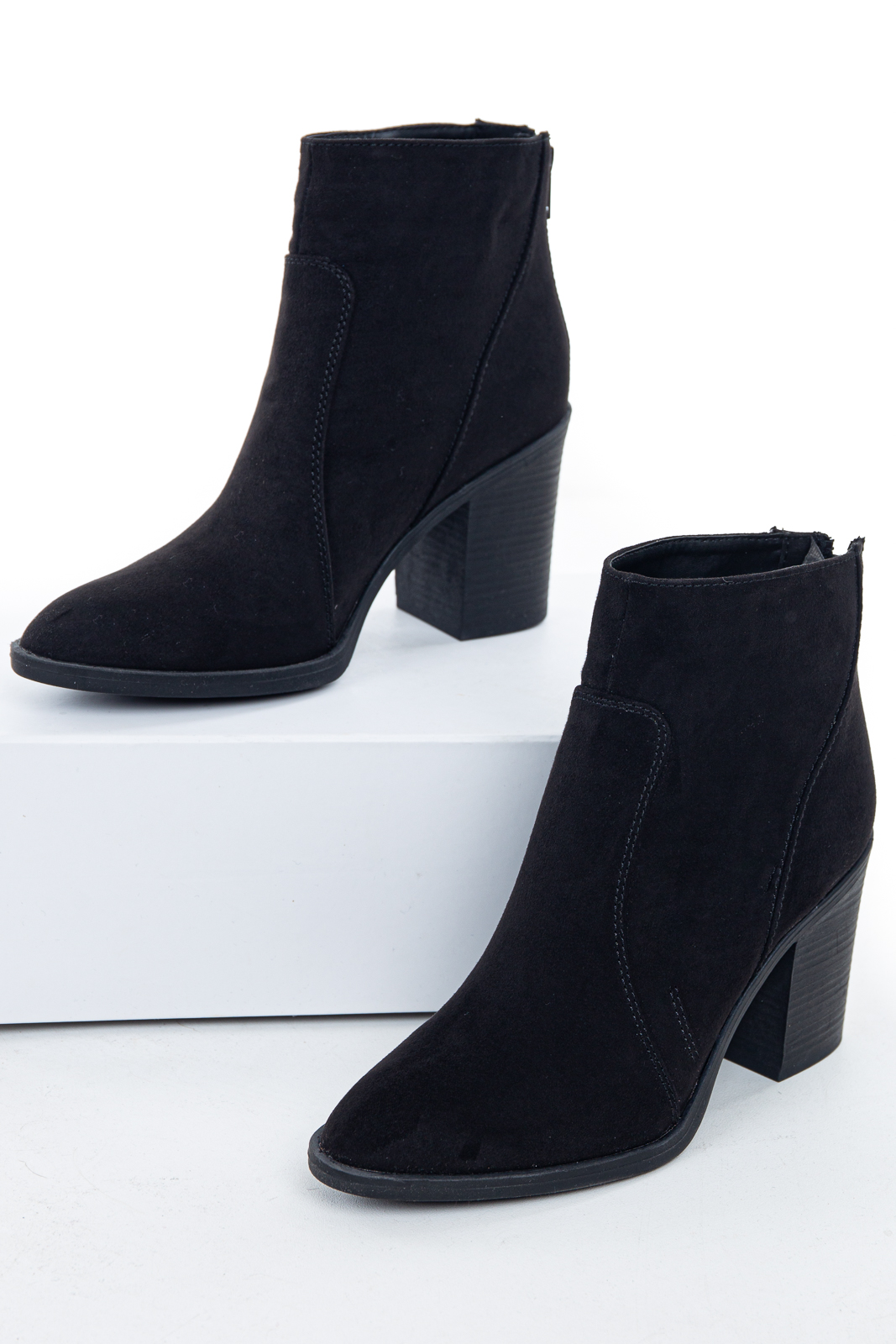 Black Pointed Toe Ankle Suede Booties with Block Heel