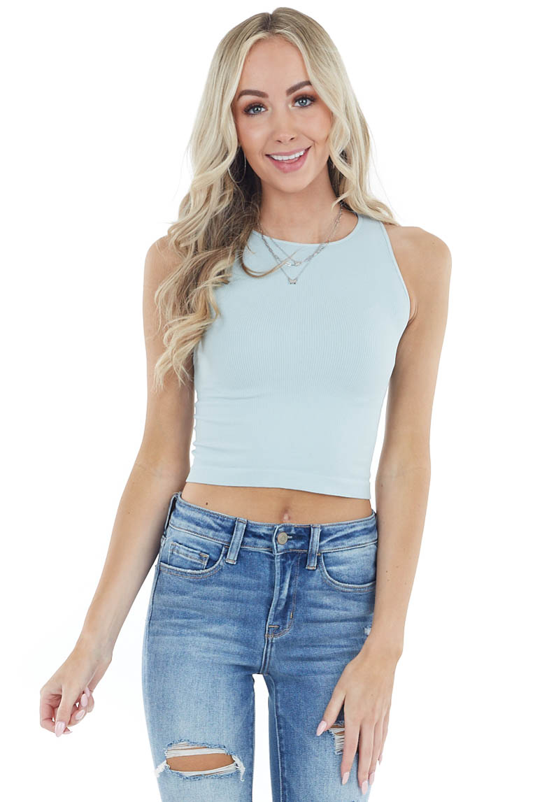 Seafoam Ribbed Knit Sleeveless Crew Neck Crop Top