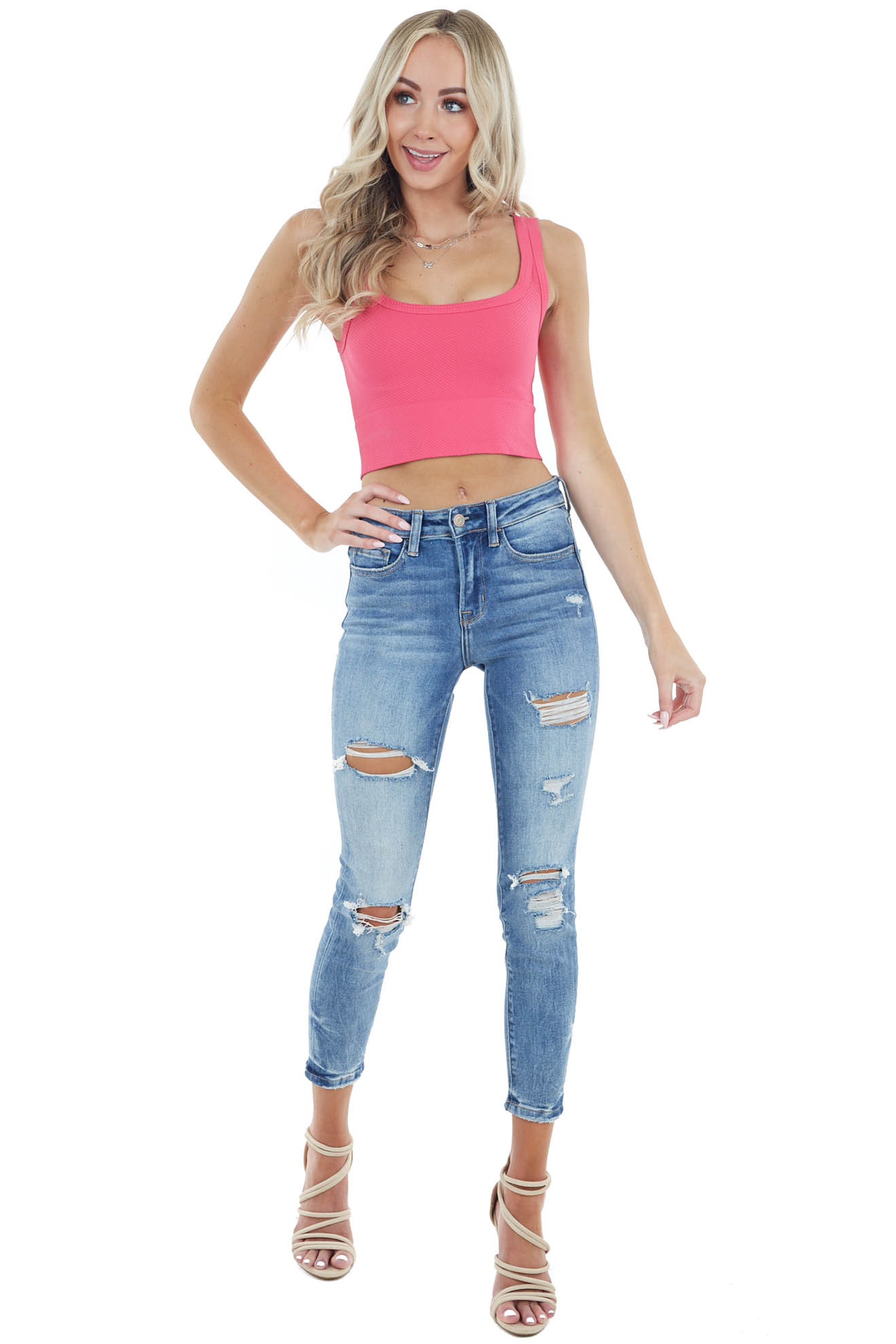 Hot Pink Chevron Ribbed Knit Square Neck Crop Top