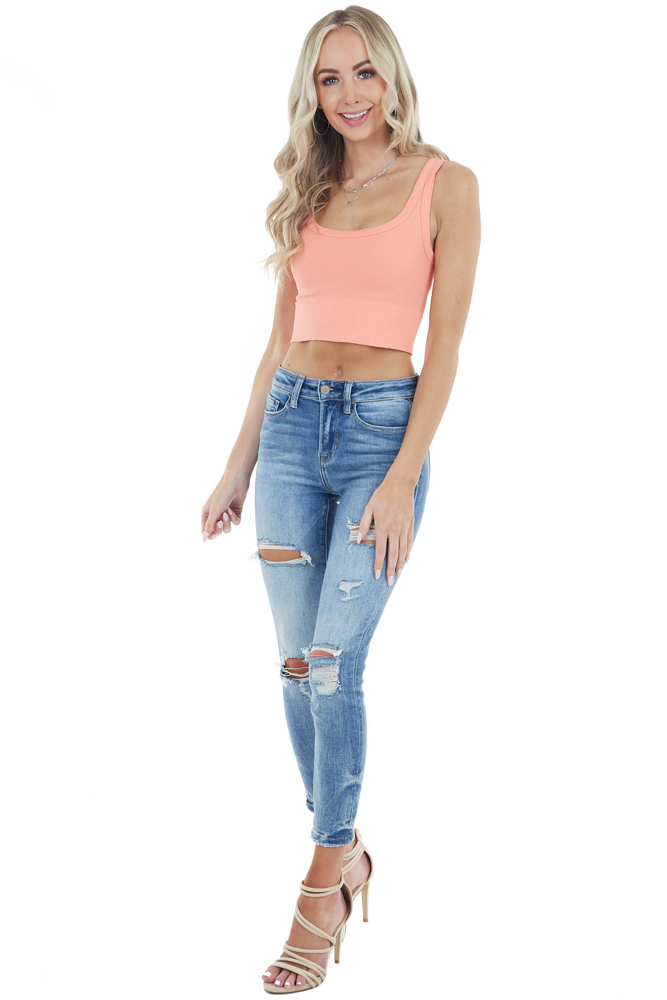 Deep Salmon Chevron Ribbed Knit Square Neck Crop Top