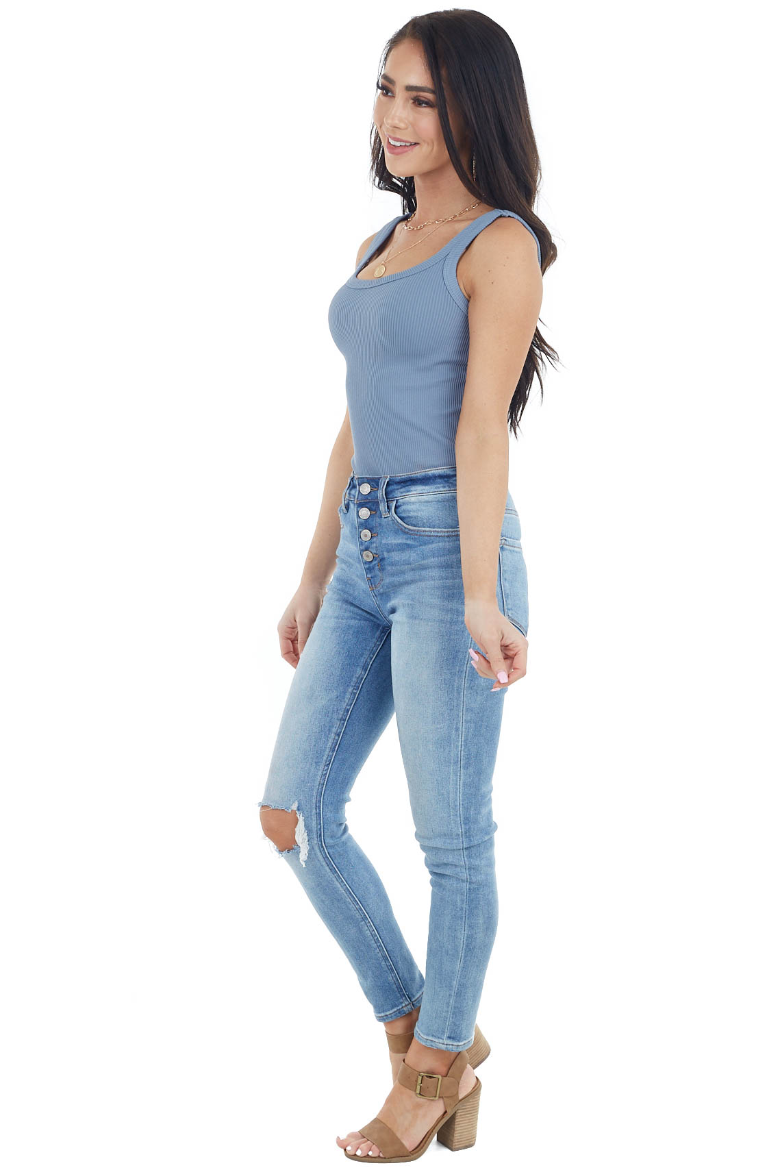 Dusty Blue Ribbed Knit Sleeveless Scoop Neckline Bodysuit