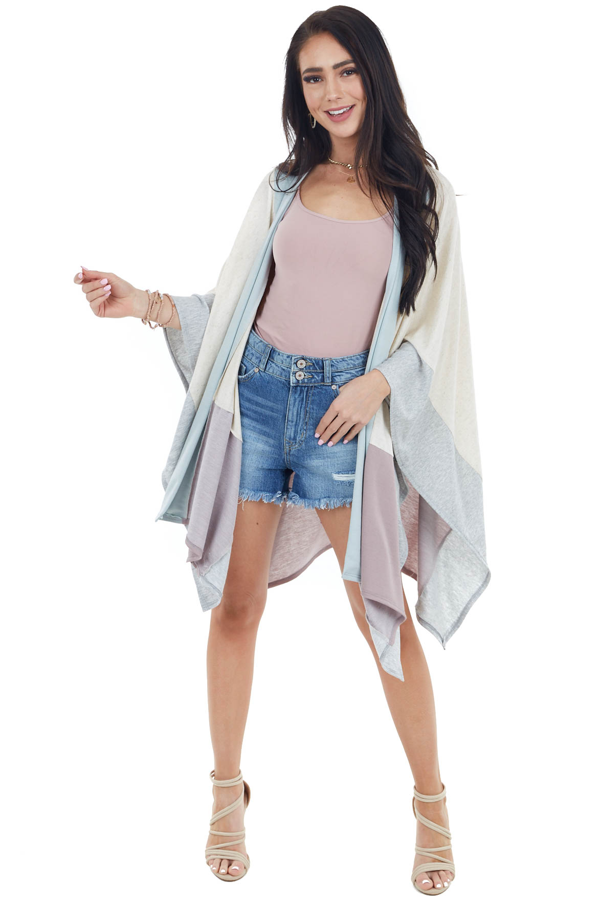 Oatmeal Colorblock Knit Cardigan with Kimono Sleeves
