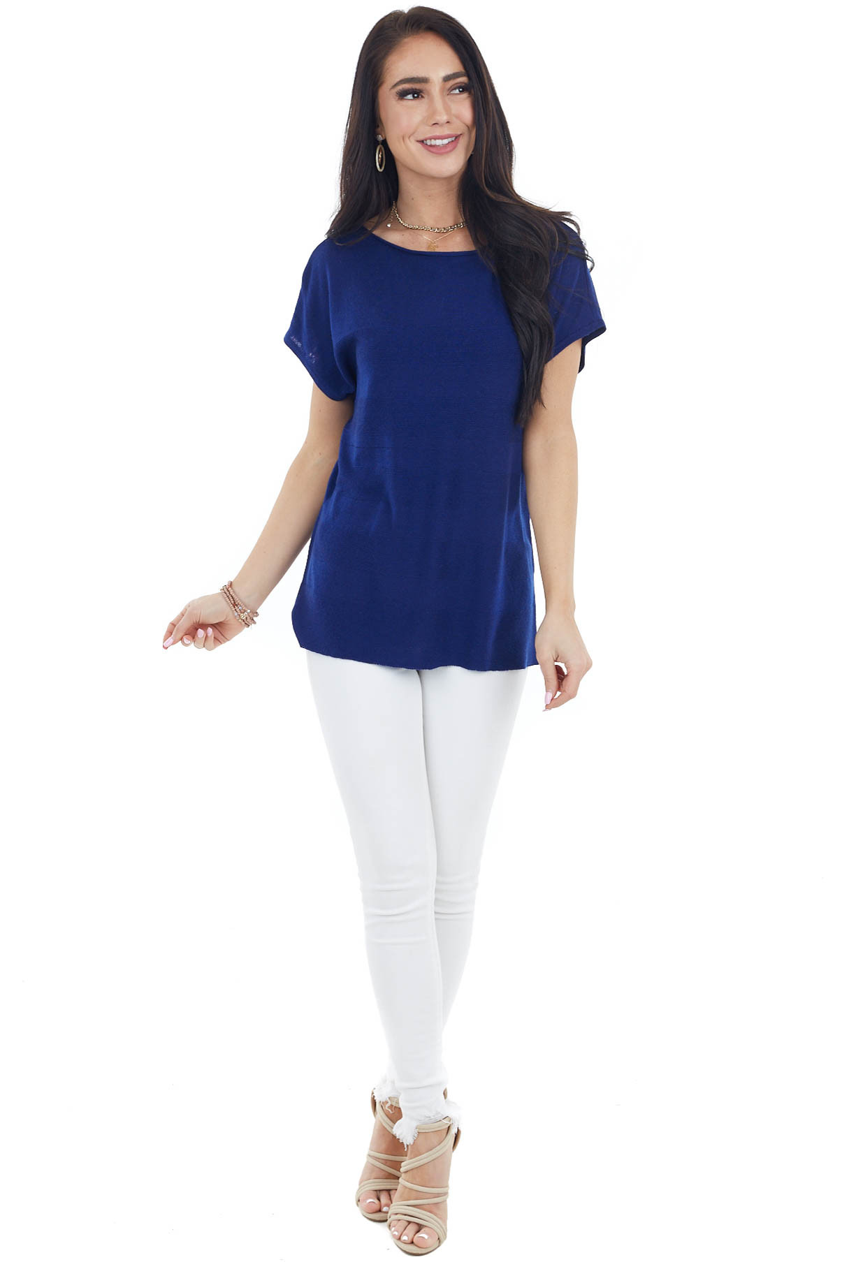Navy Textured Striped Stretchy Knit Top with Short Sleeves