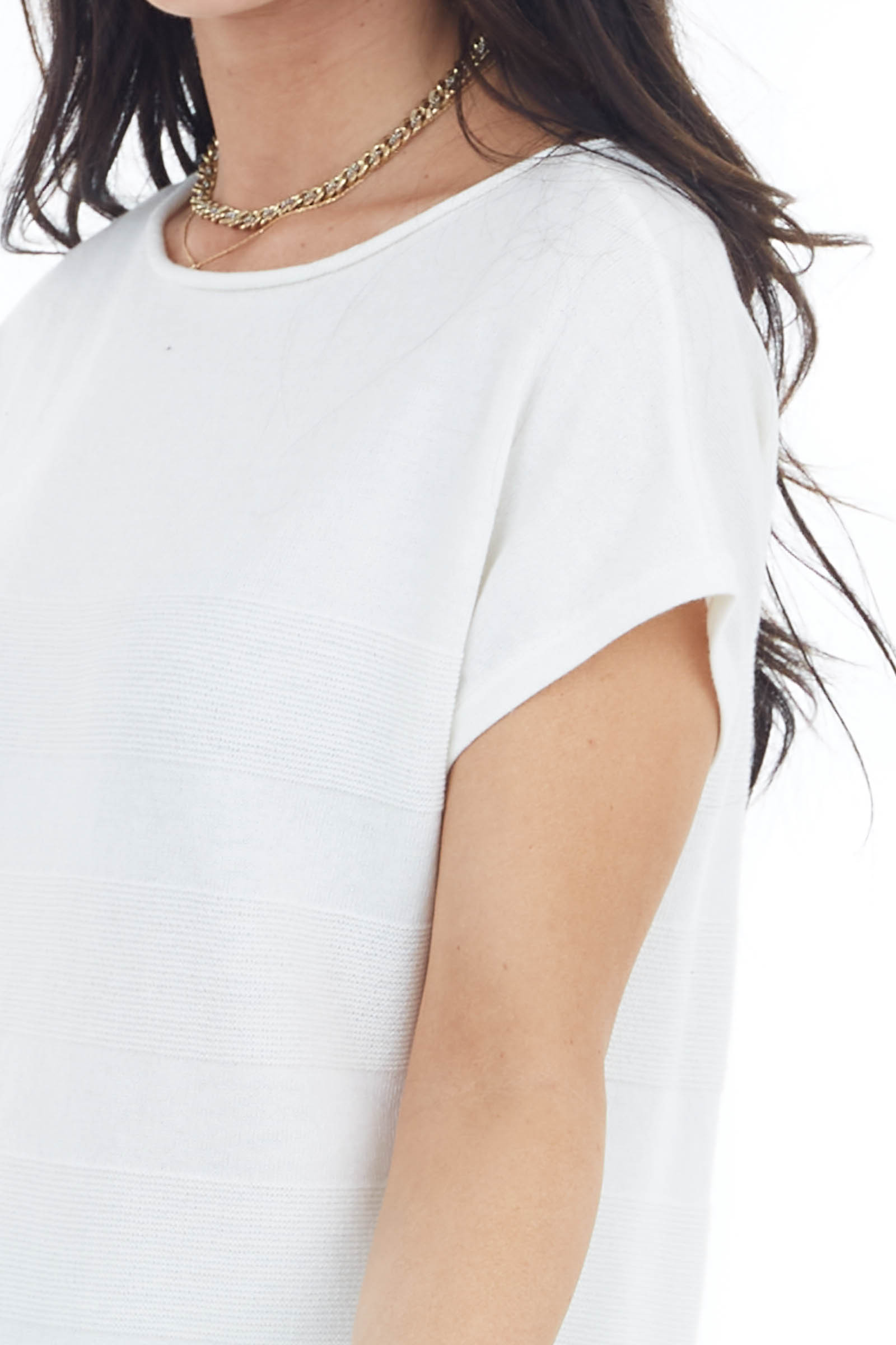 Ivory Textured Striped Stretchy Knit Top with Short Sleeves