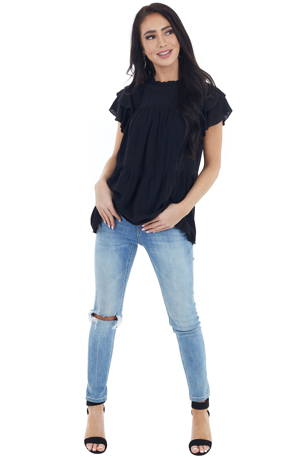 Black High Neck Top with Double Ruffled Short Sleeves