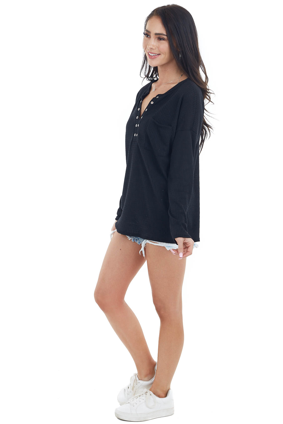 Black Long Sleeve Waffle Knit Top with Silver Eyelet Detail
