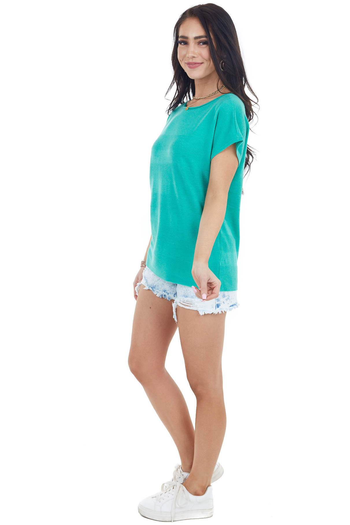 Jade Textured Striped Stretchy Knit Top with Short Sleeves