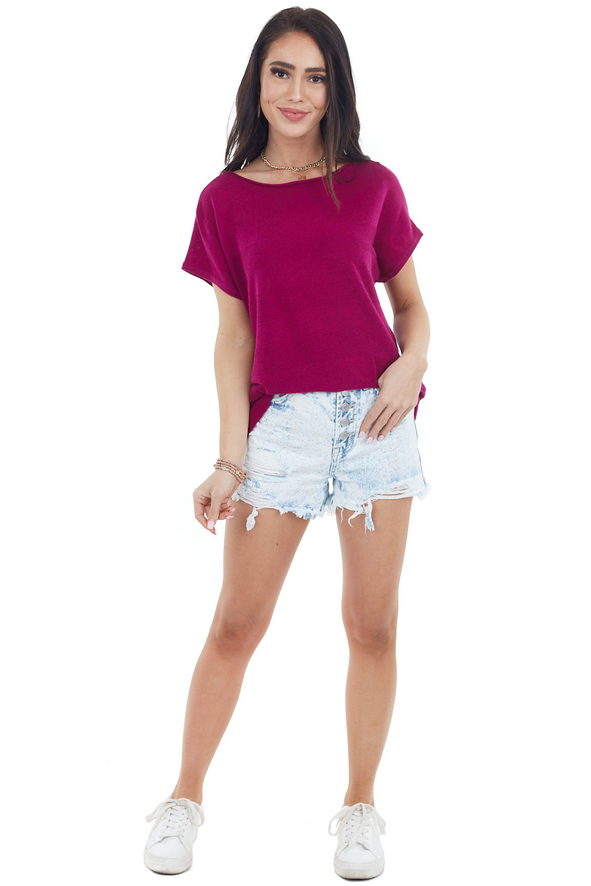 Magenta Textured Striped Knit Top with Short Sleeves