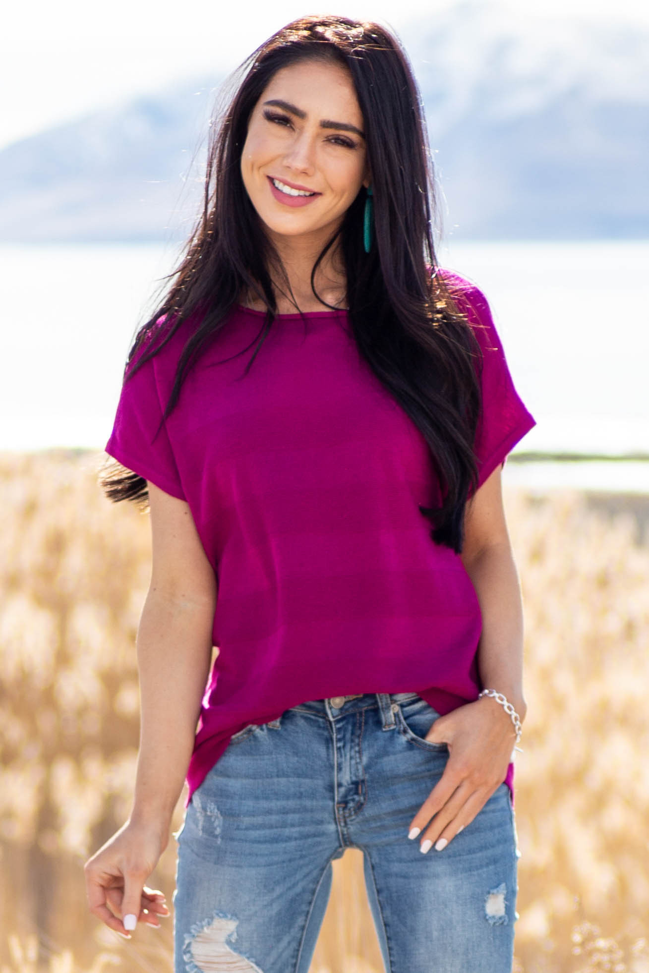 Plum Textured Striped Stretchy Knit Top with Short Sleeves