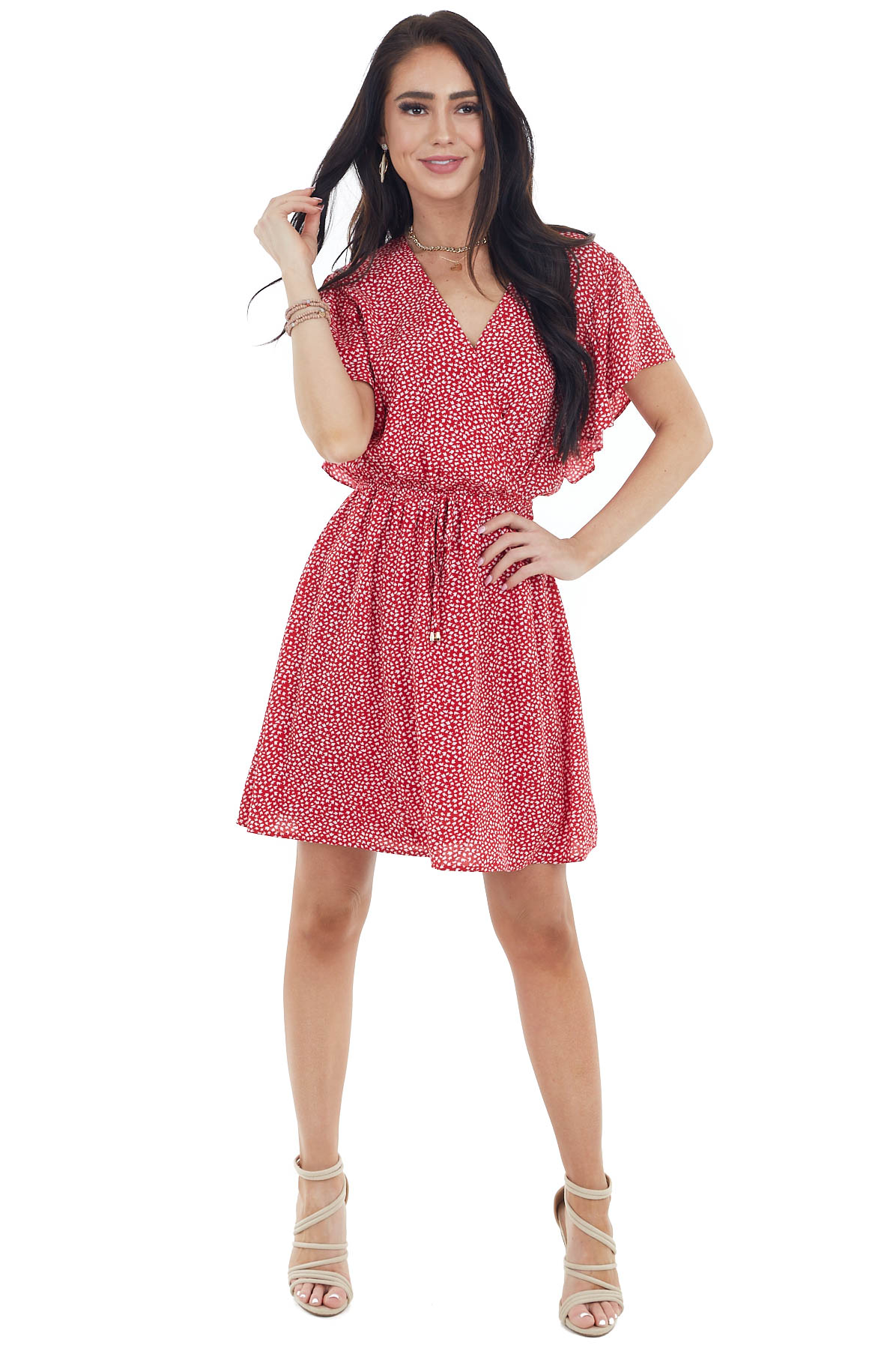 Cherry Red Printed Surplice Flutter Sleeve Short Dress
