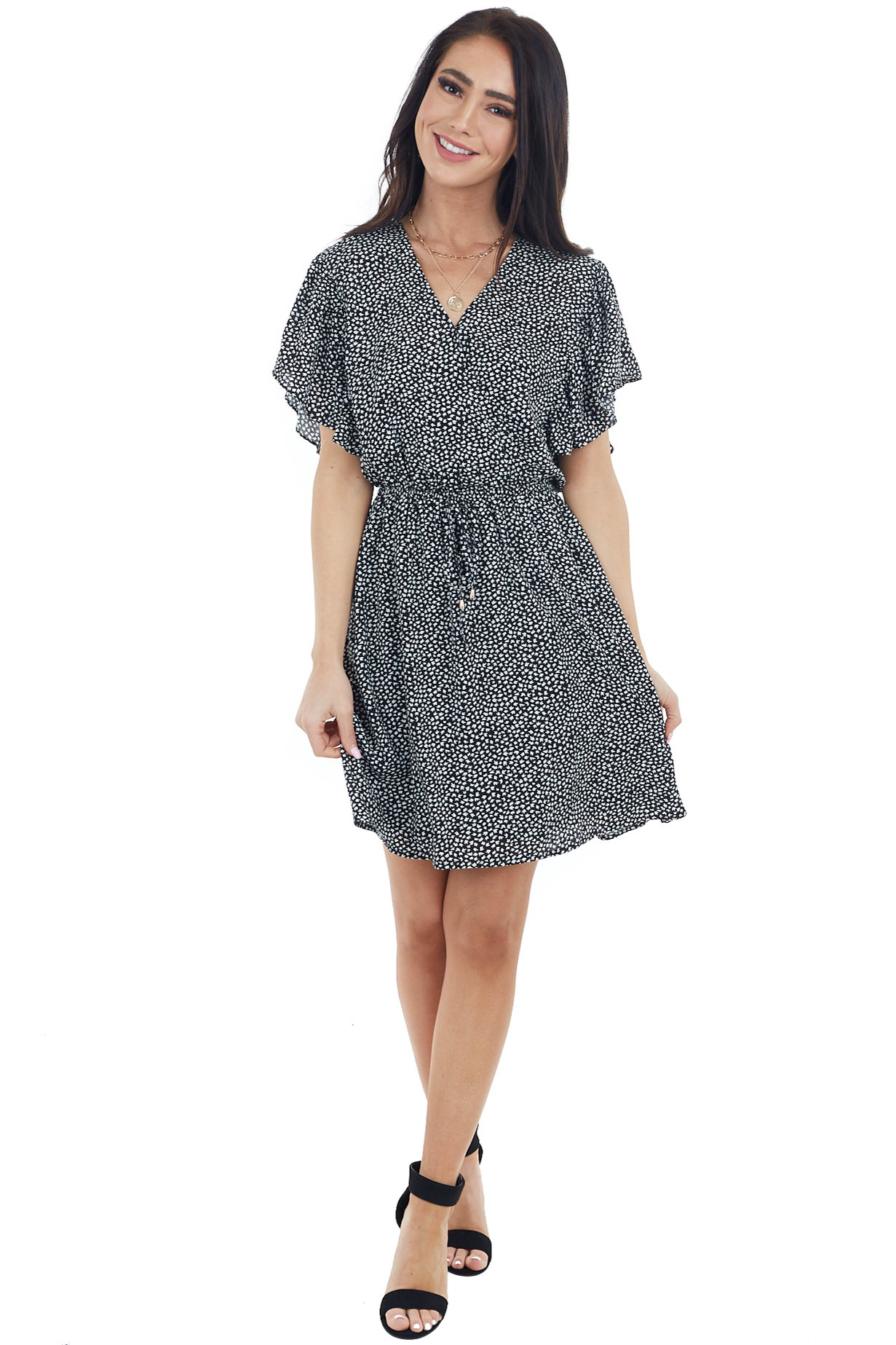 Black Printed Surplice Flutter Sleeve Short Dress