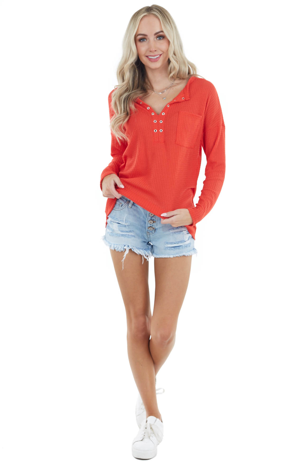 Lipstick Long Sleeve Waffle Knit Top with Eyelet Detail