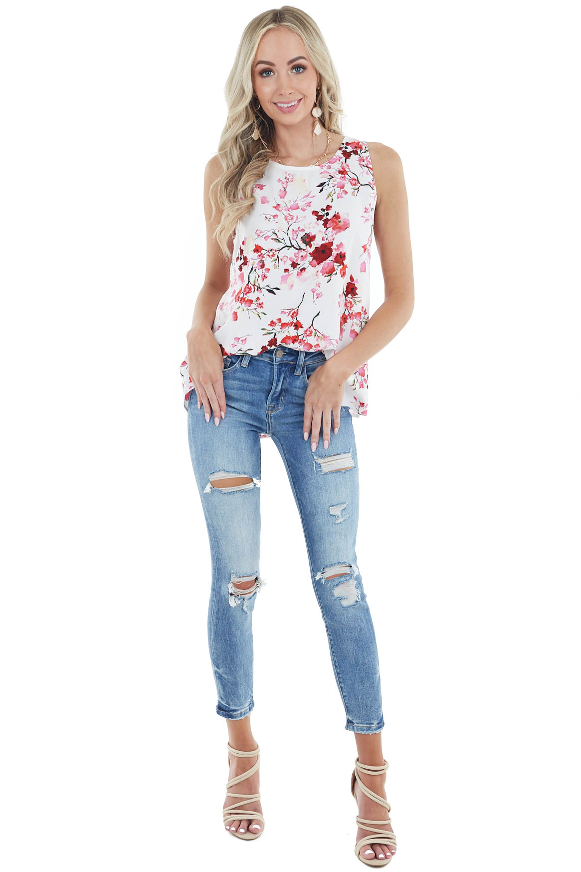 Ivory Floral Print Sleeveless Woven Top with Round Neckline