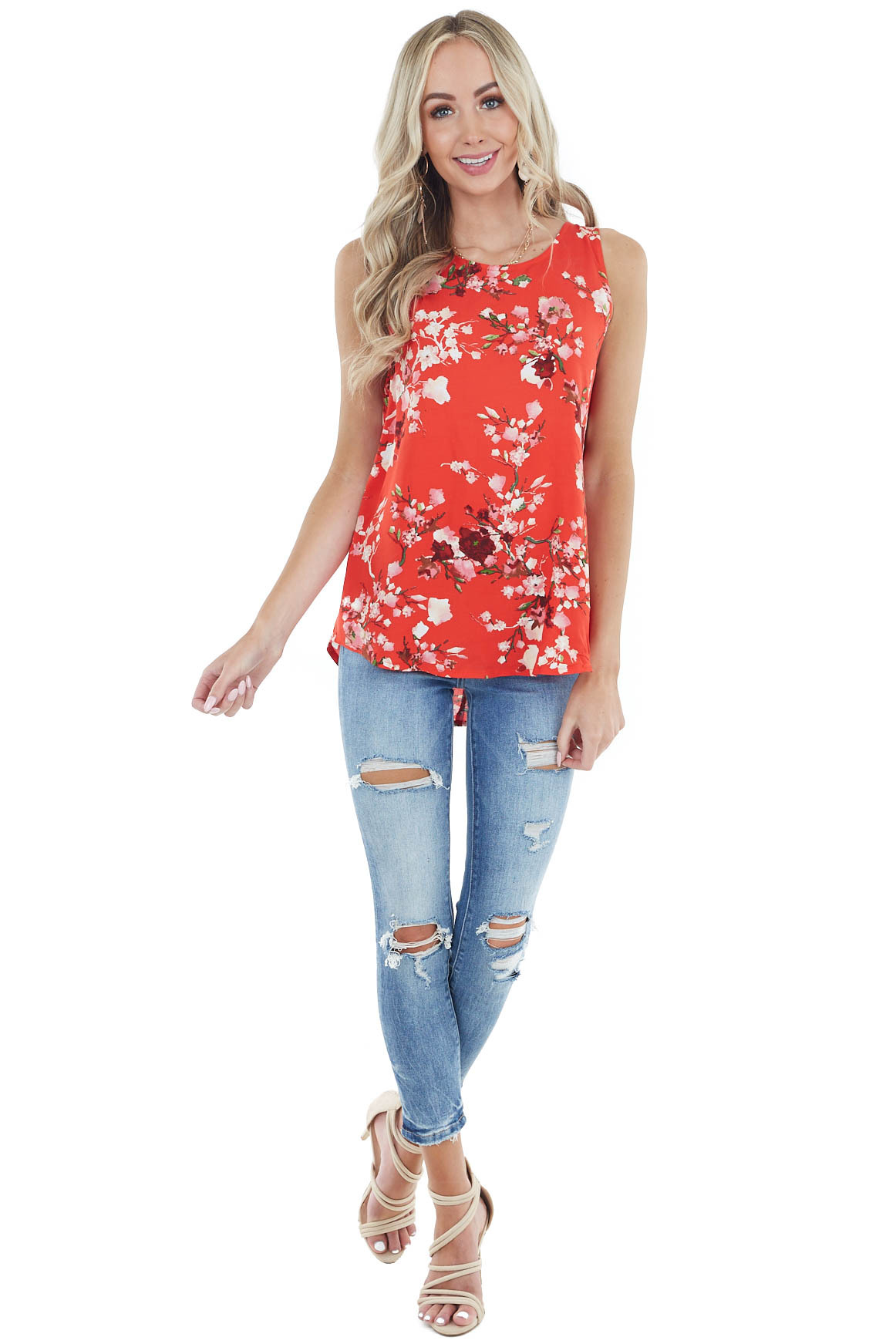 Red Floral Print Sleeveless Woven Top with Round Neckline