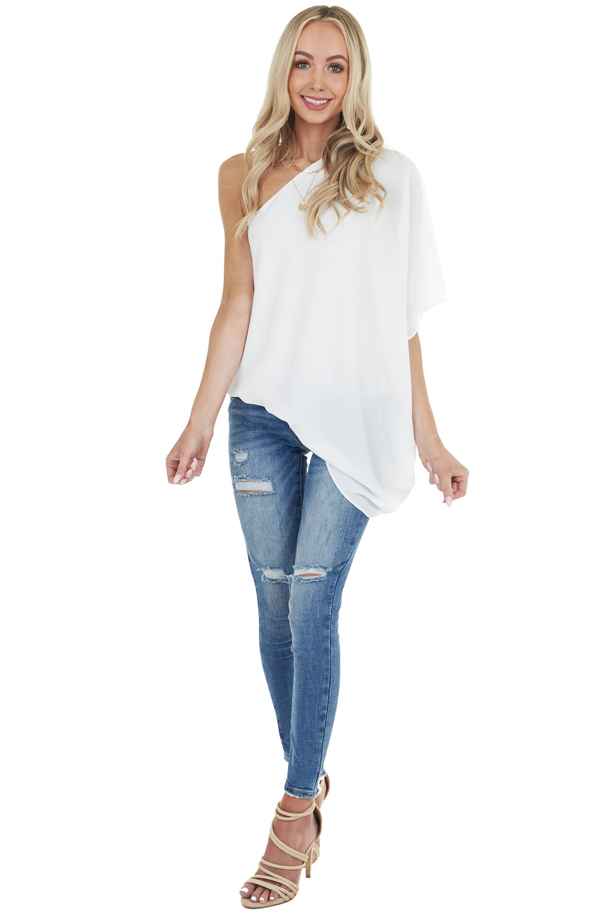 White One Shoulder Flowy Sleeve Blouse with Elastic Waist