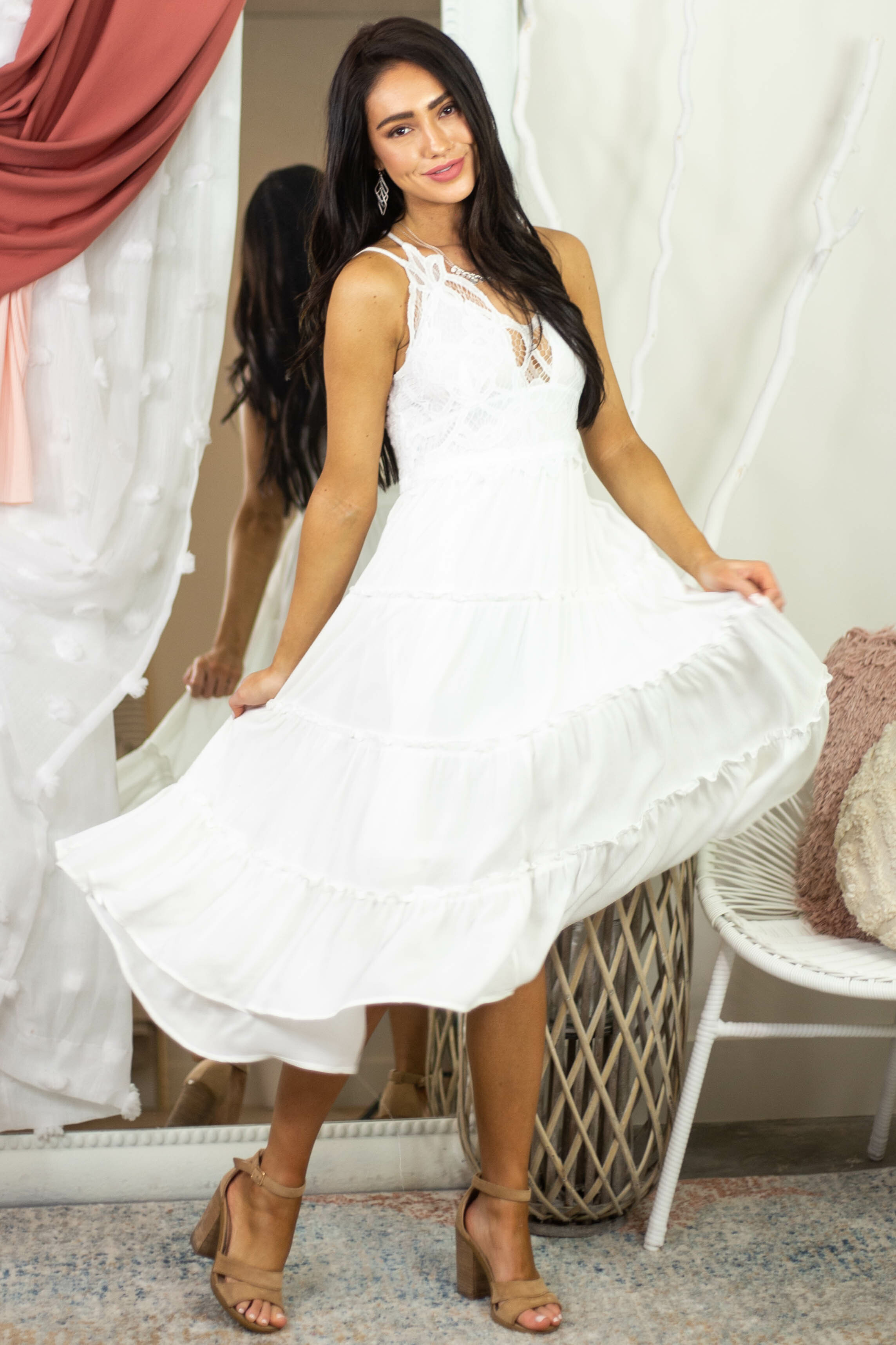 Off White Double Spaghetti Strap Midi Dress with Lace Detail