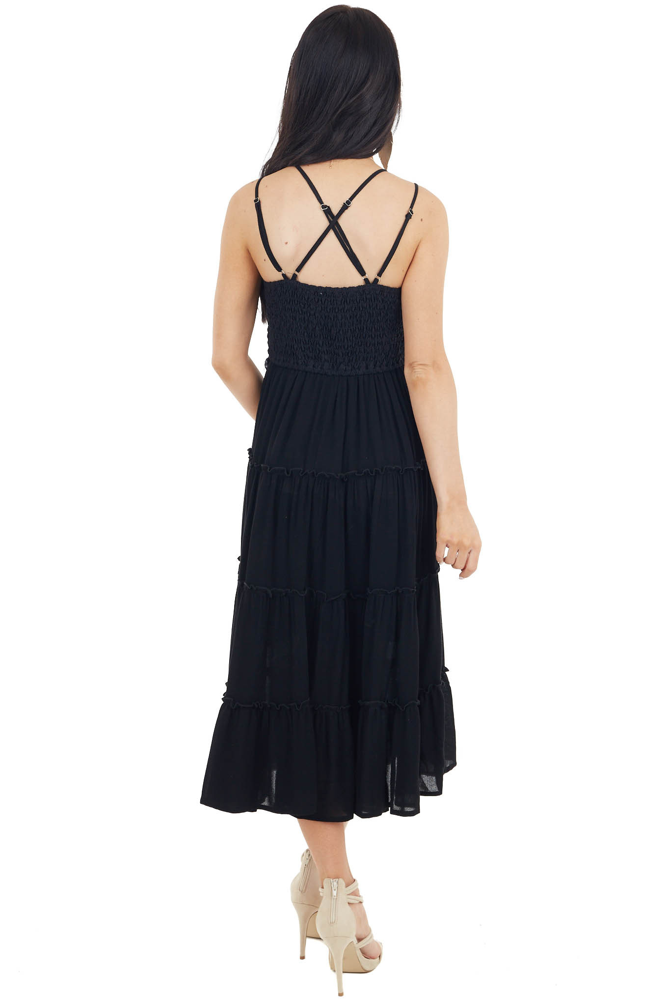 Black Double Spaghetti Strap Midi Dress with Lace Detail