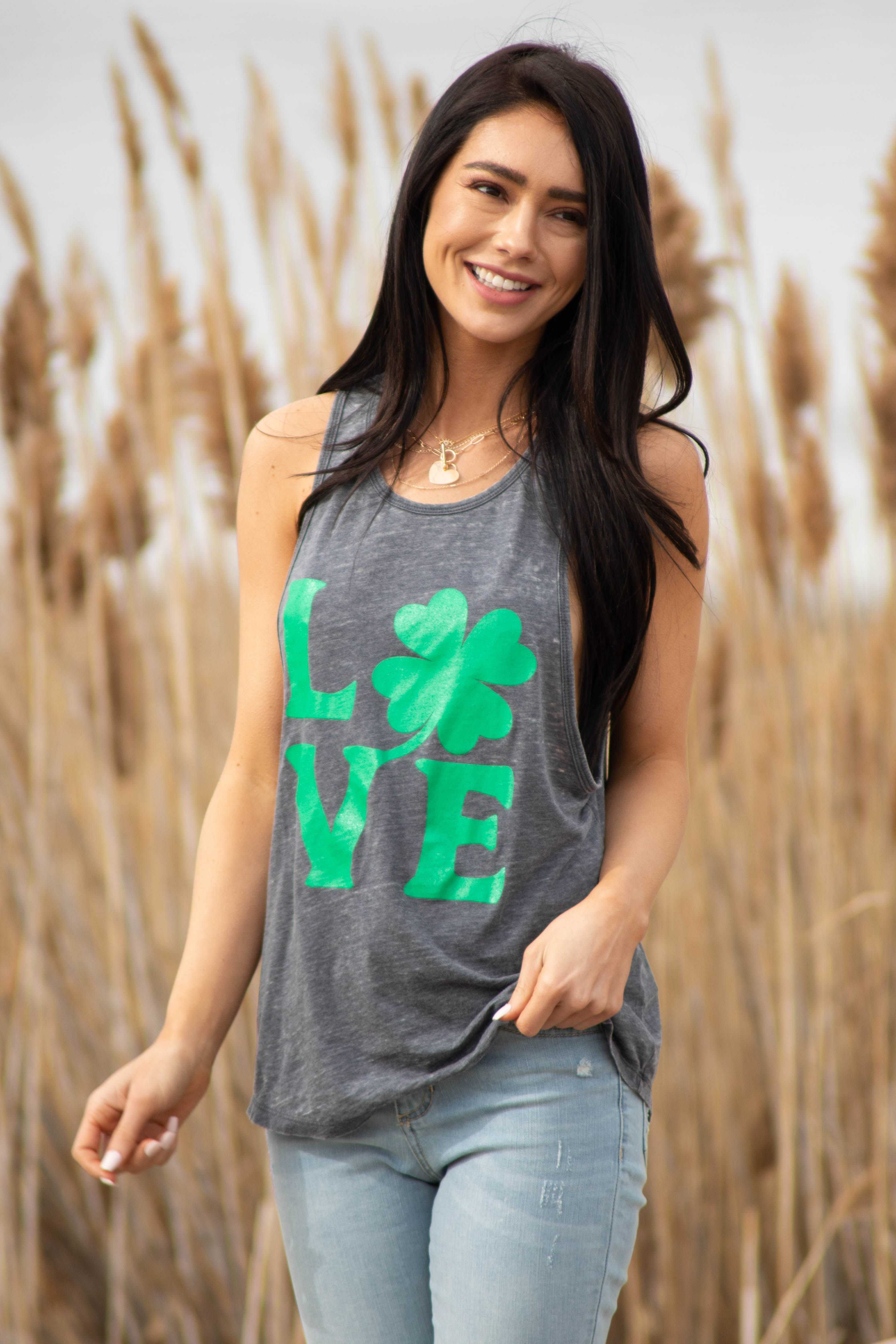 "Charcoal ""Love"" Graphic Tank Top with Back Ladder Cut Out"