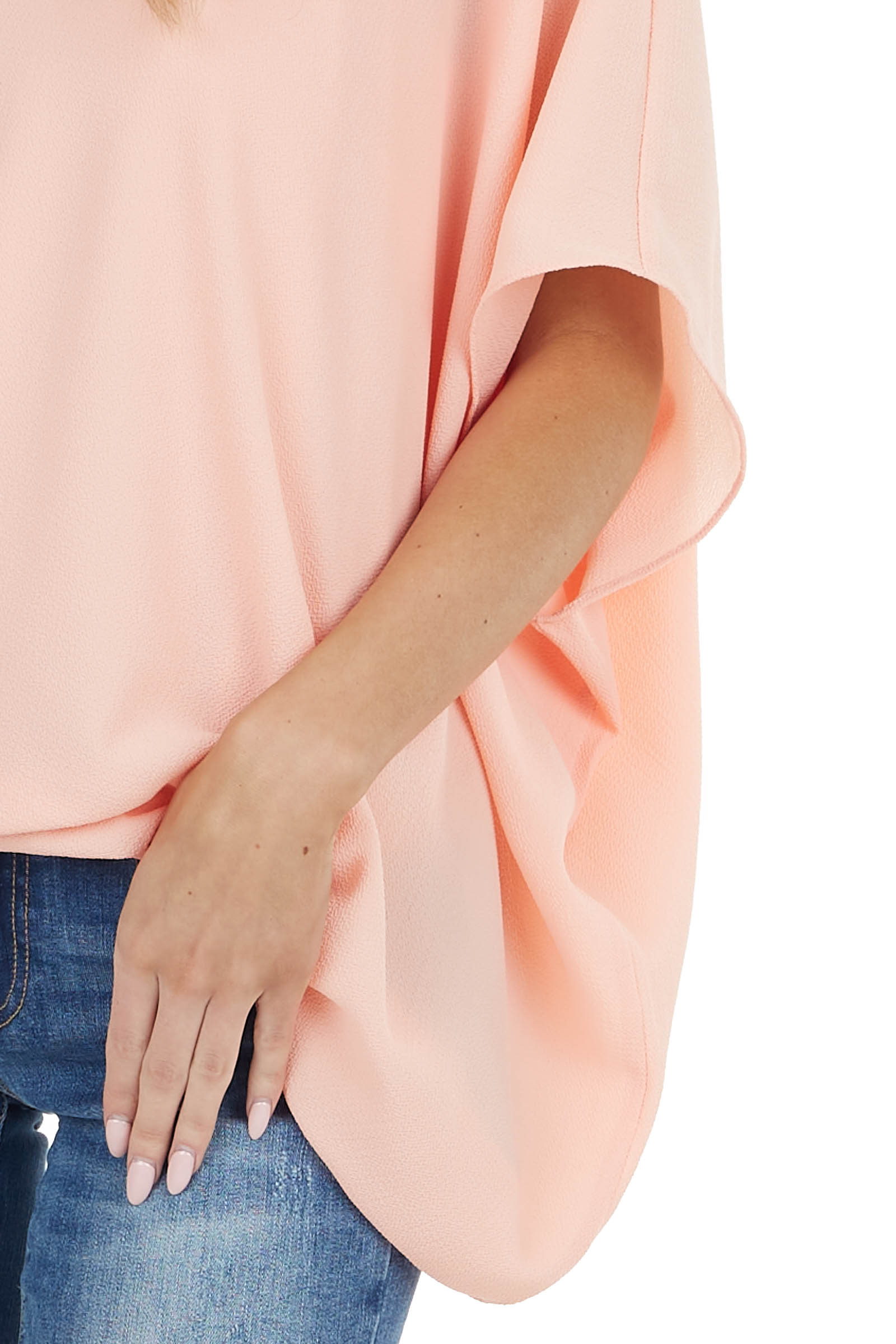 Peach One Shoulder Flowy Sleeve Blouse with Elastic Waist