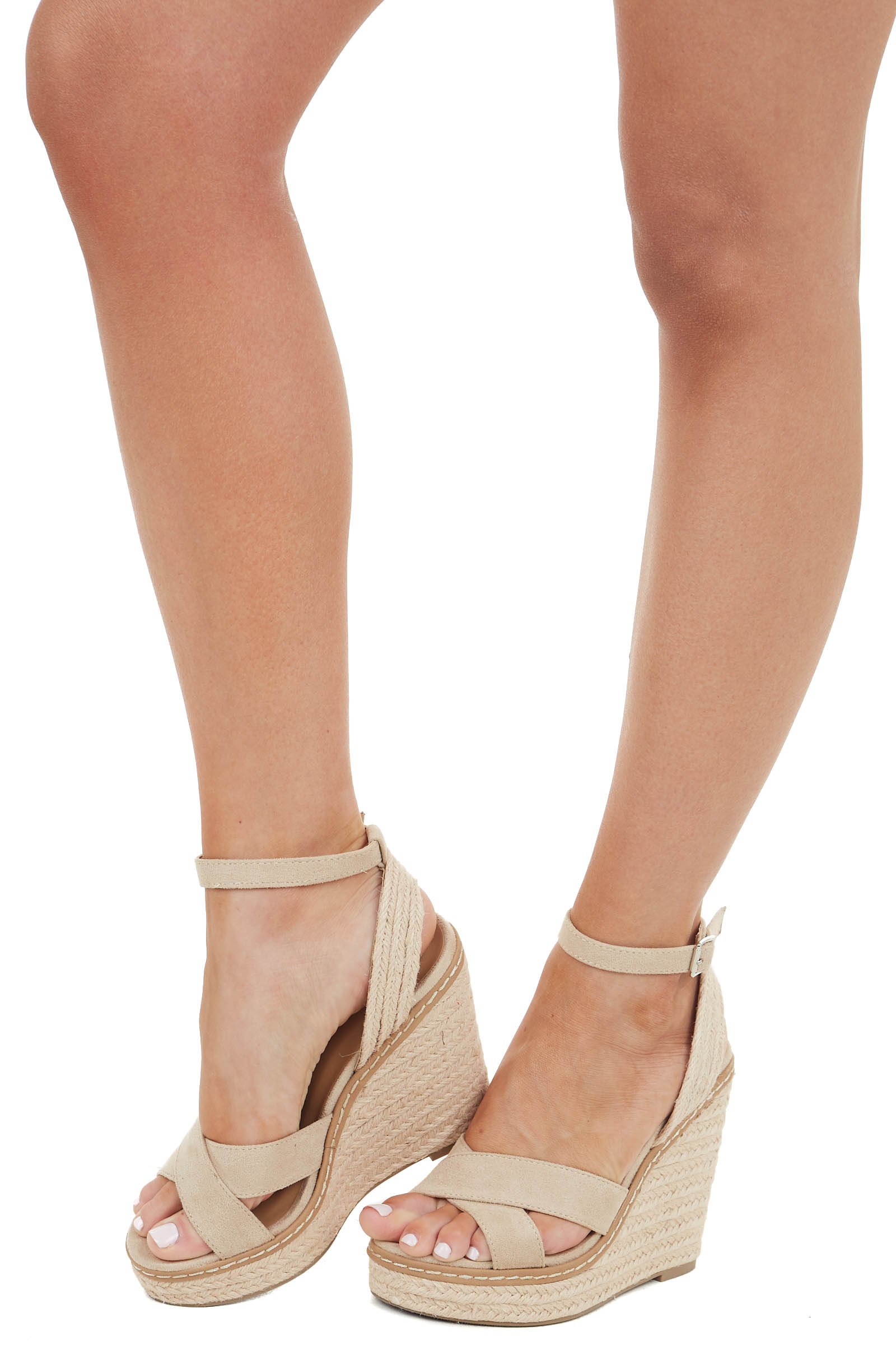 Oatmeal Faux Suede Espadrille Wedge with Criss Cross Detail