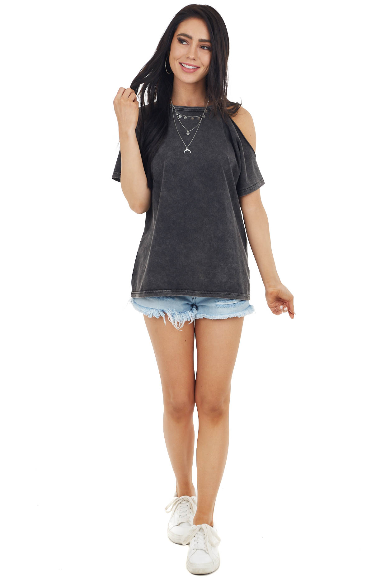 Charcoal Round Neckline Knit Top with Cold Shoulder Detail