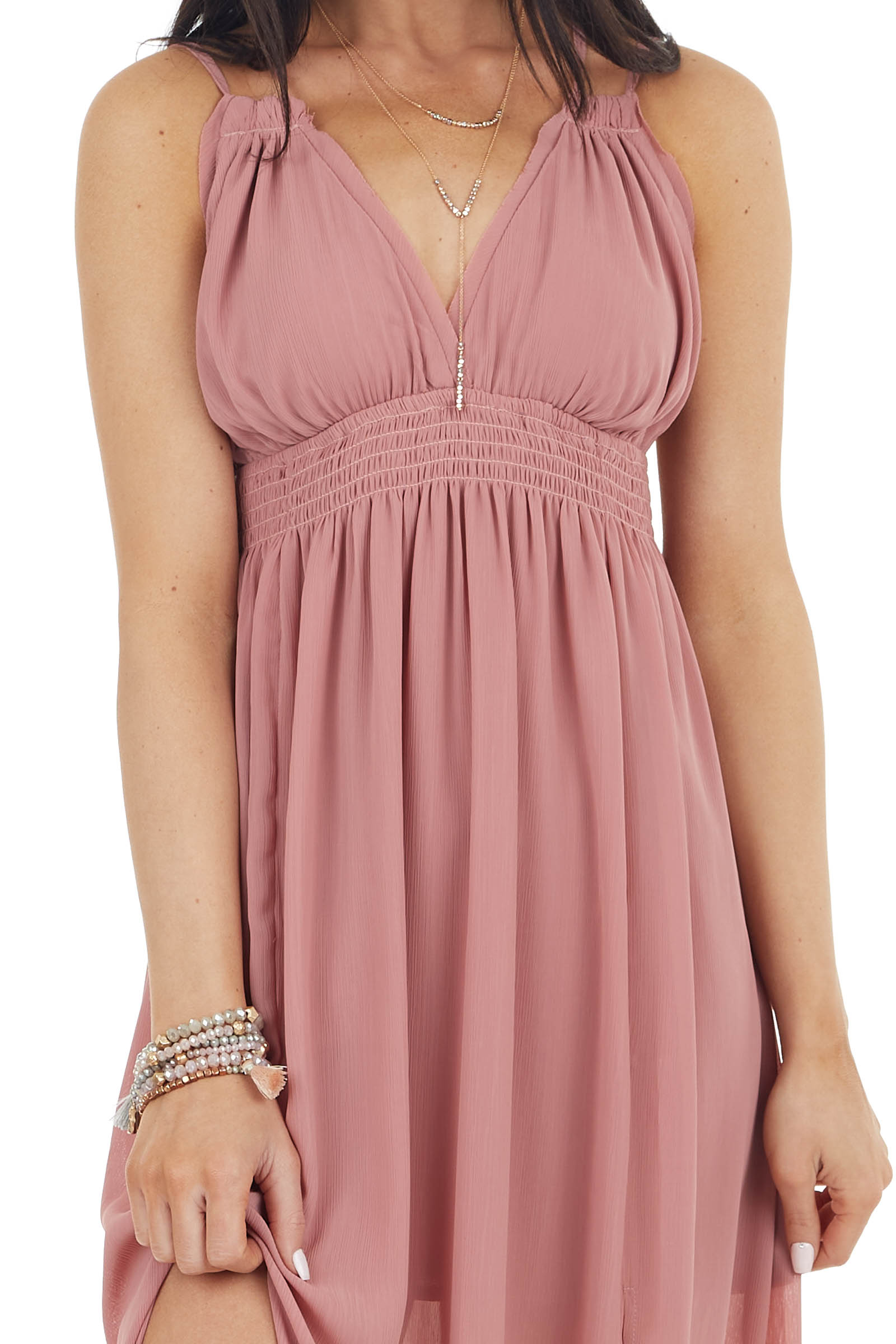 Dusty Rose Sleeveless Maxi Dress with Side Slit Detail