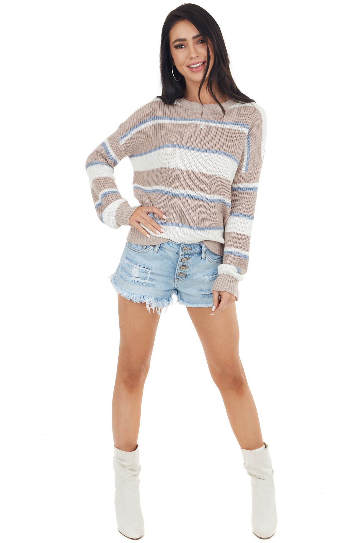 Dusty Rose Striped Long Sleeve Sweater with Ribbed Detail