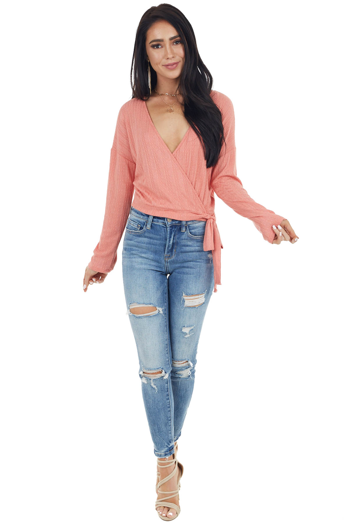 Coral Textured Knit Wrapped Long Sleeve Top with Tie Closure