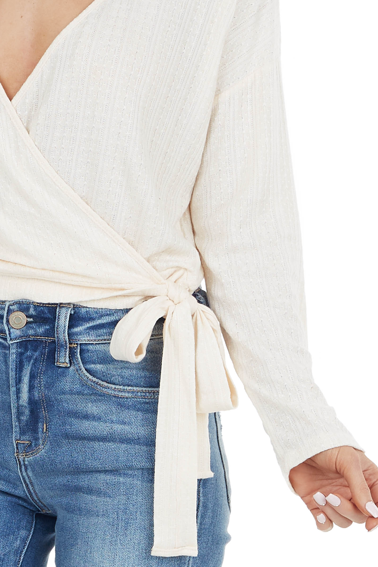 Cream Textured Knit Wrapped Long Sleeve Top with Tie Closure