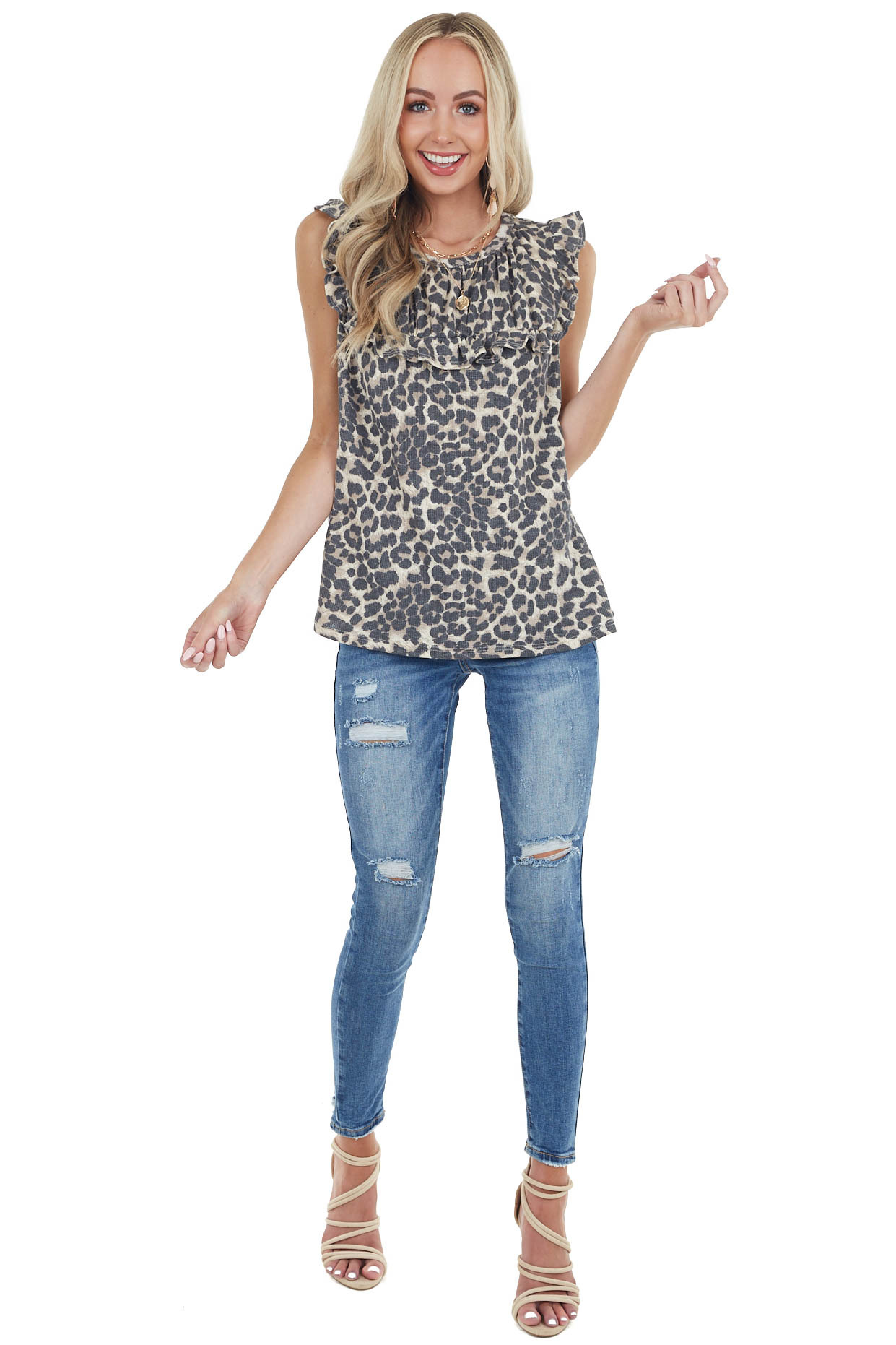 Beige Leopard Print Babydoll Top with Ruffle Details