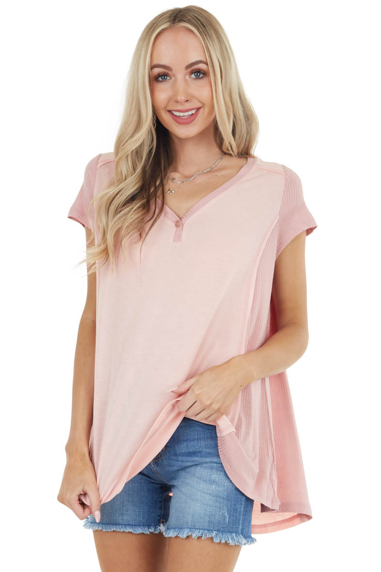 Baby Pink Short Sleeve Knit Top with Dusty Blush Contrast