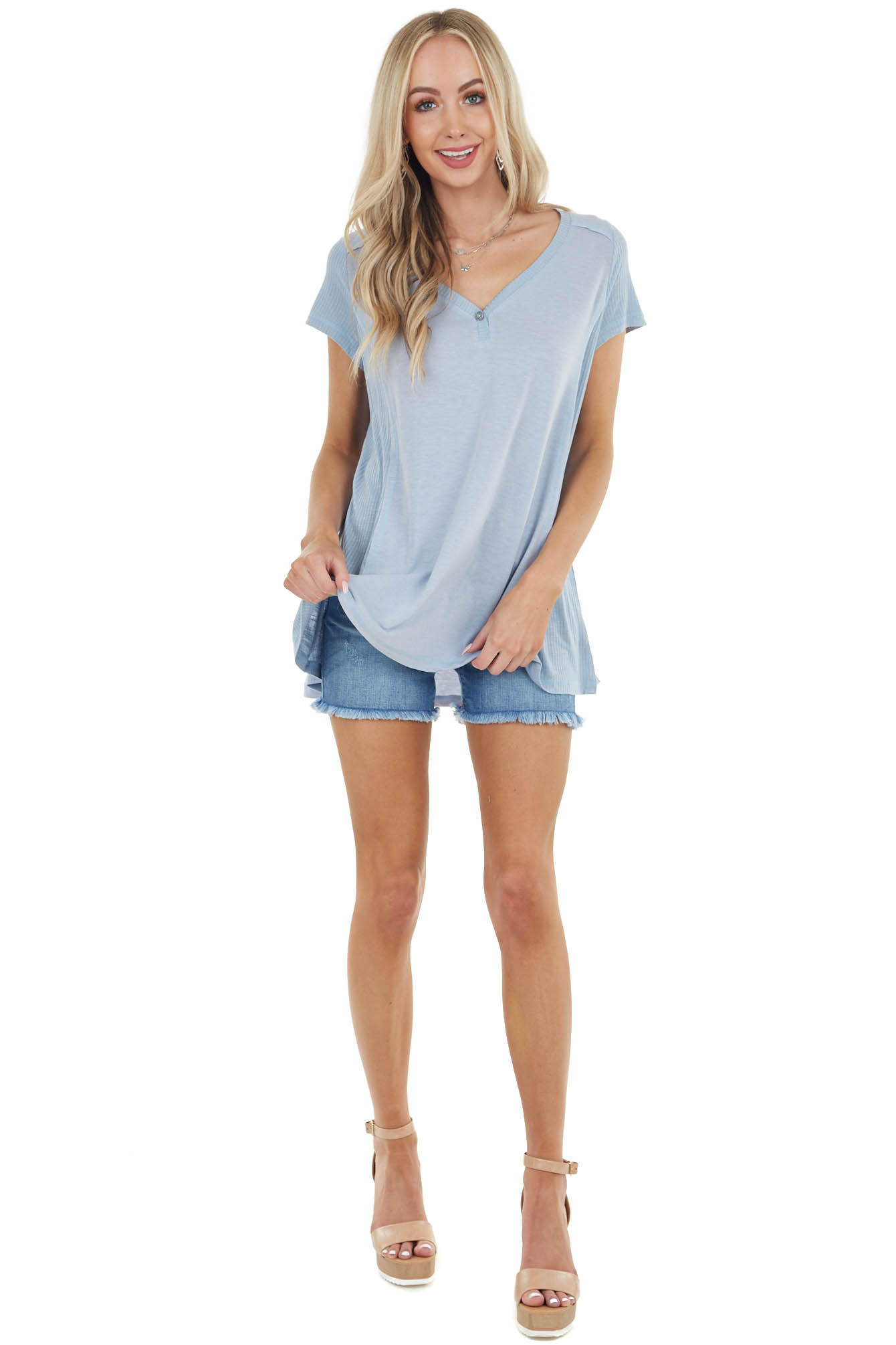 Powder Blue Short Sleeve Knit Top with Cornflower Contrast