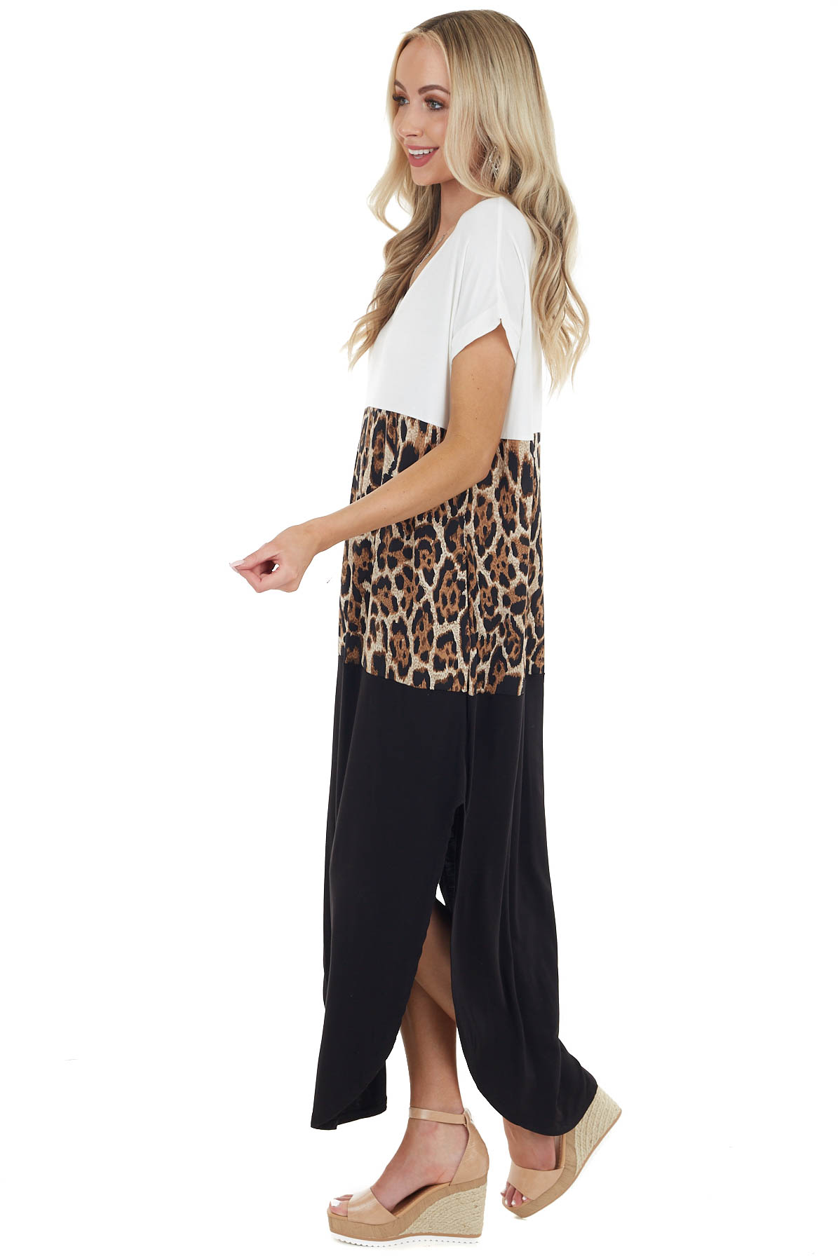 Black and Ivory Leopard Print Color Block Maxi Dress