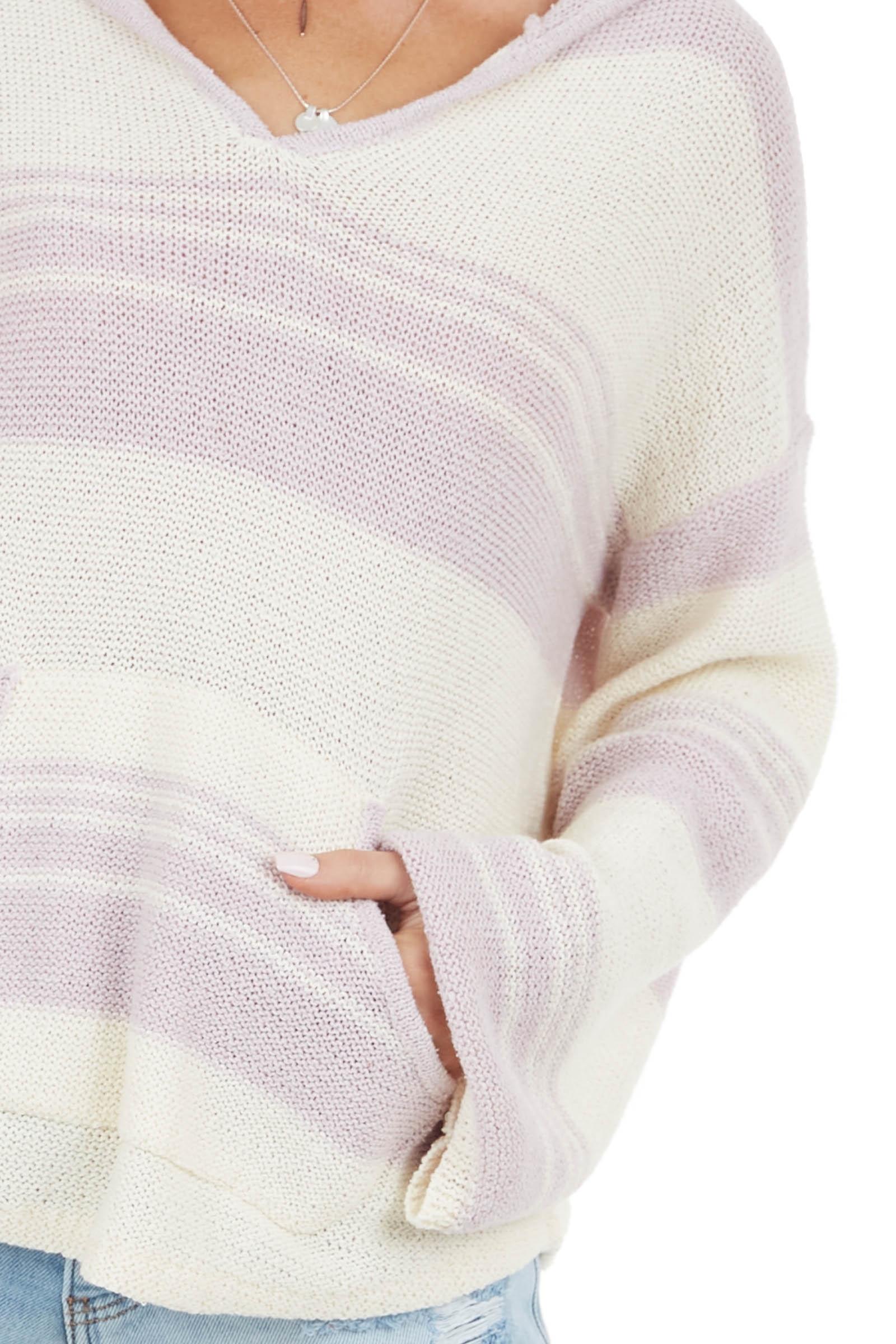 Lilac Striped Long Sleeve Hooded Sweater with Front Pocket