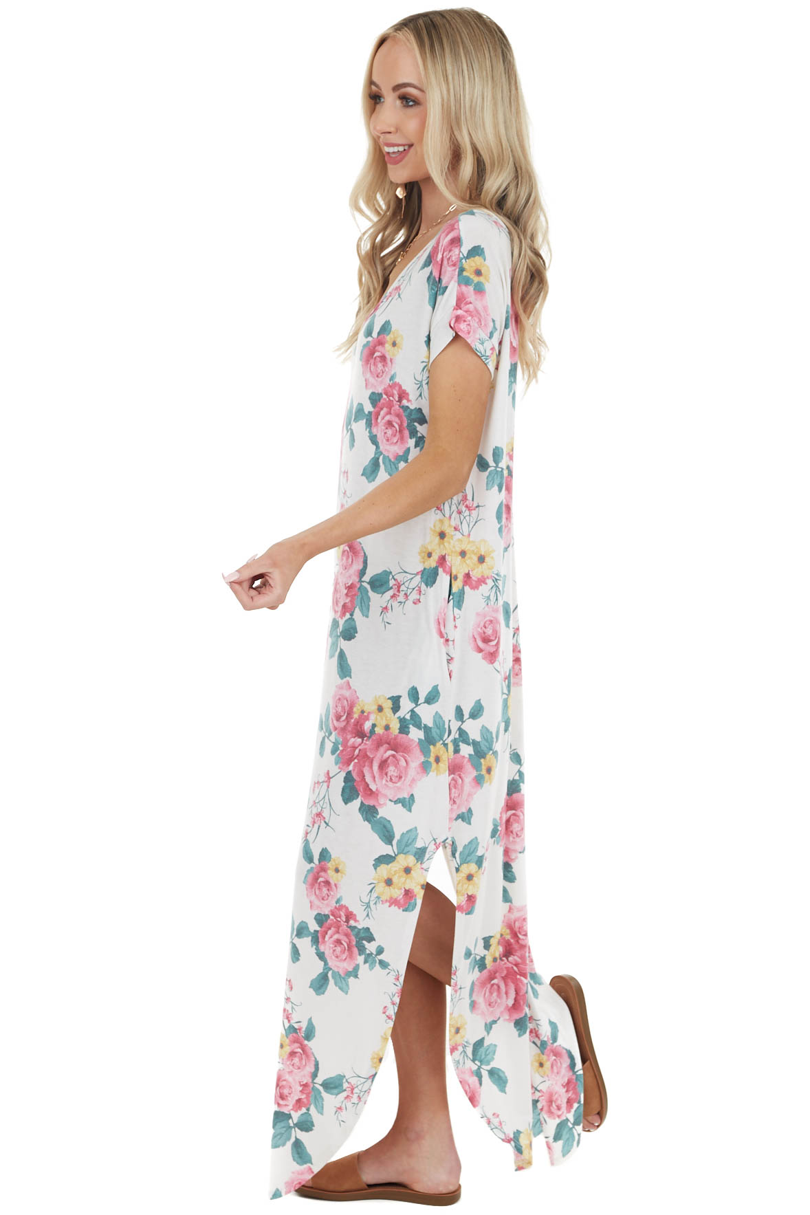 Off White Floral Open Back Maxi Dress with Deep Side Slits