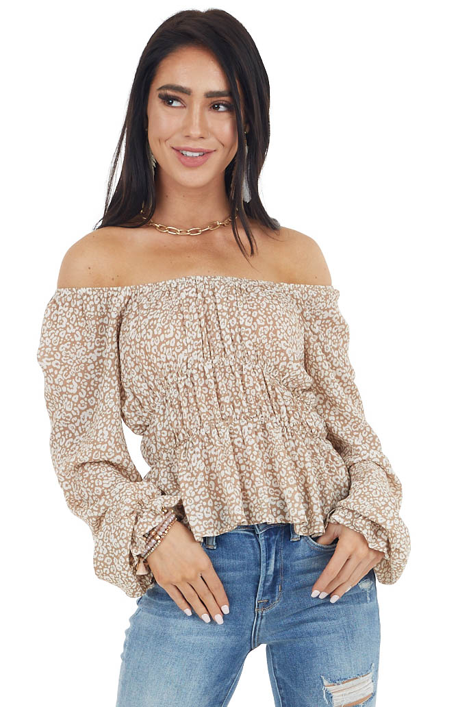 Latte and Ivory Leopard Print Woven Tiered Peplum Top
