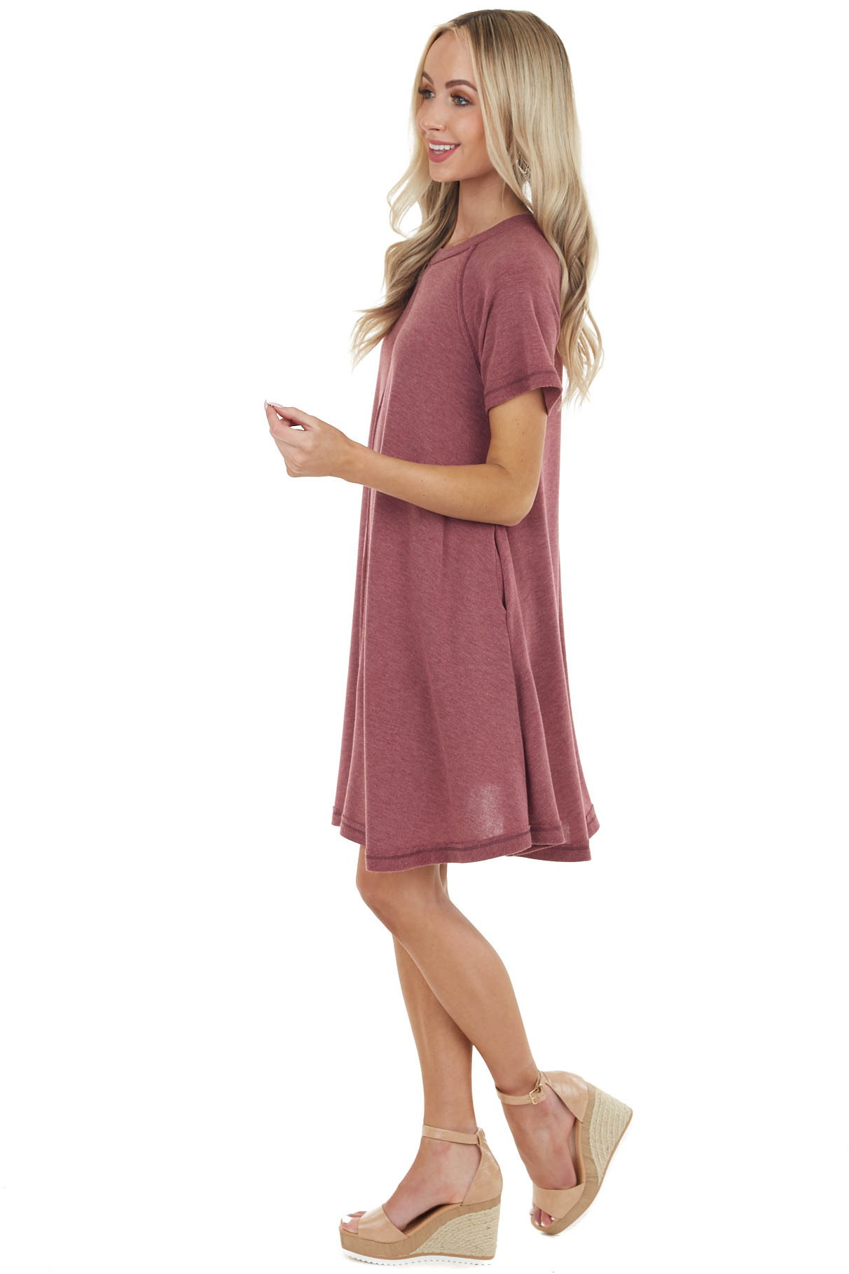 Heathered Berry Short Swing Dress with Raw Edge Details