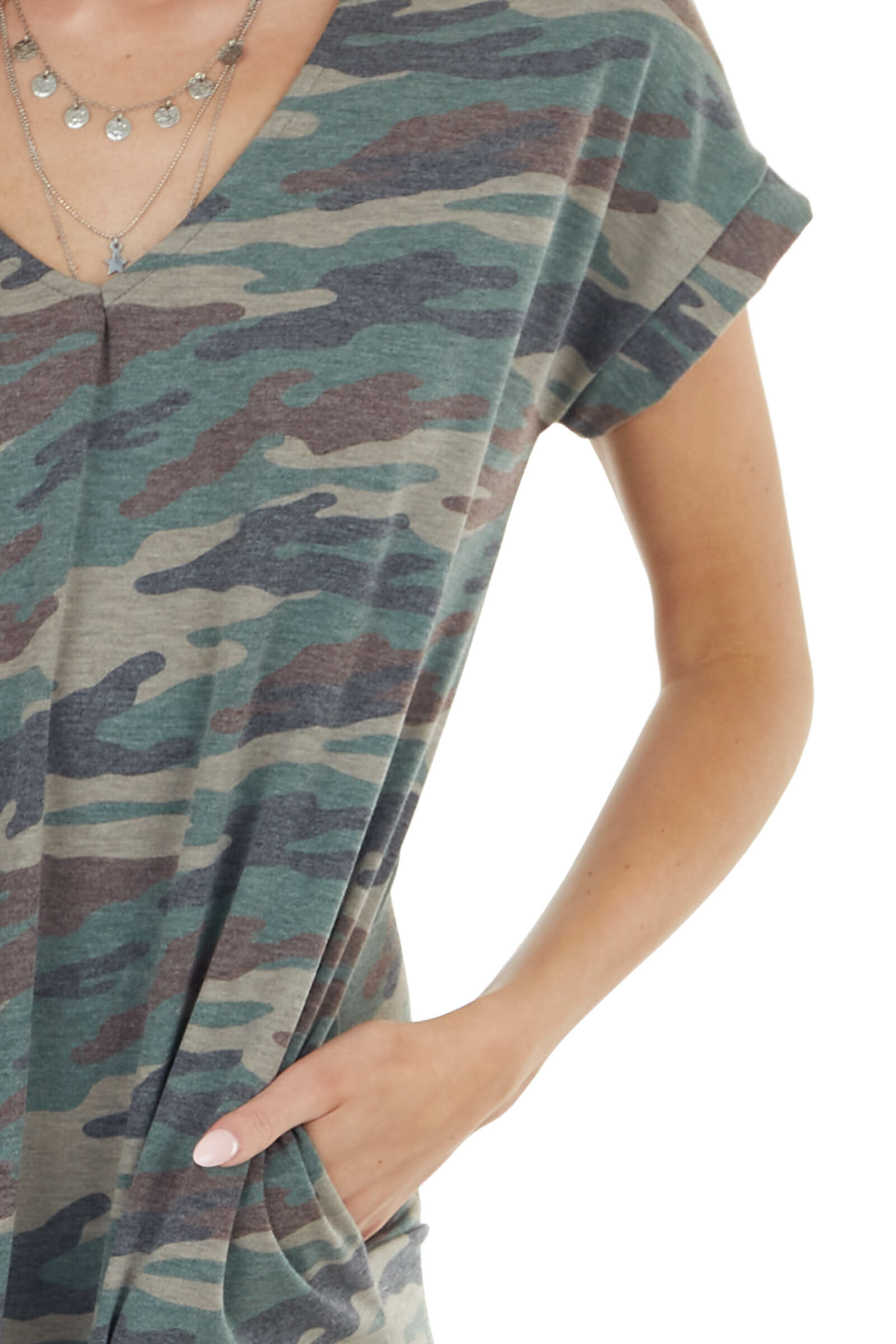 Forest Green Camo Knit Maxi Dress with Short Sleeves