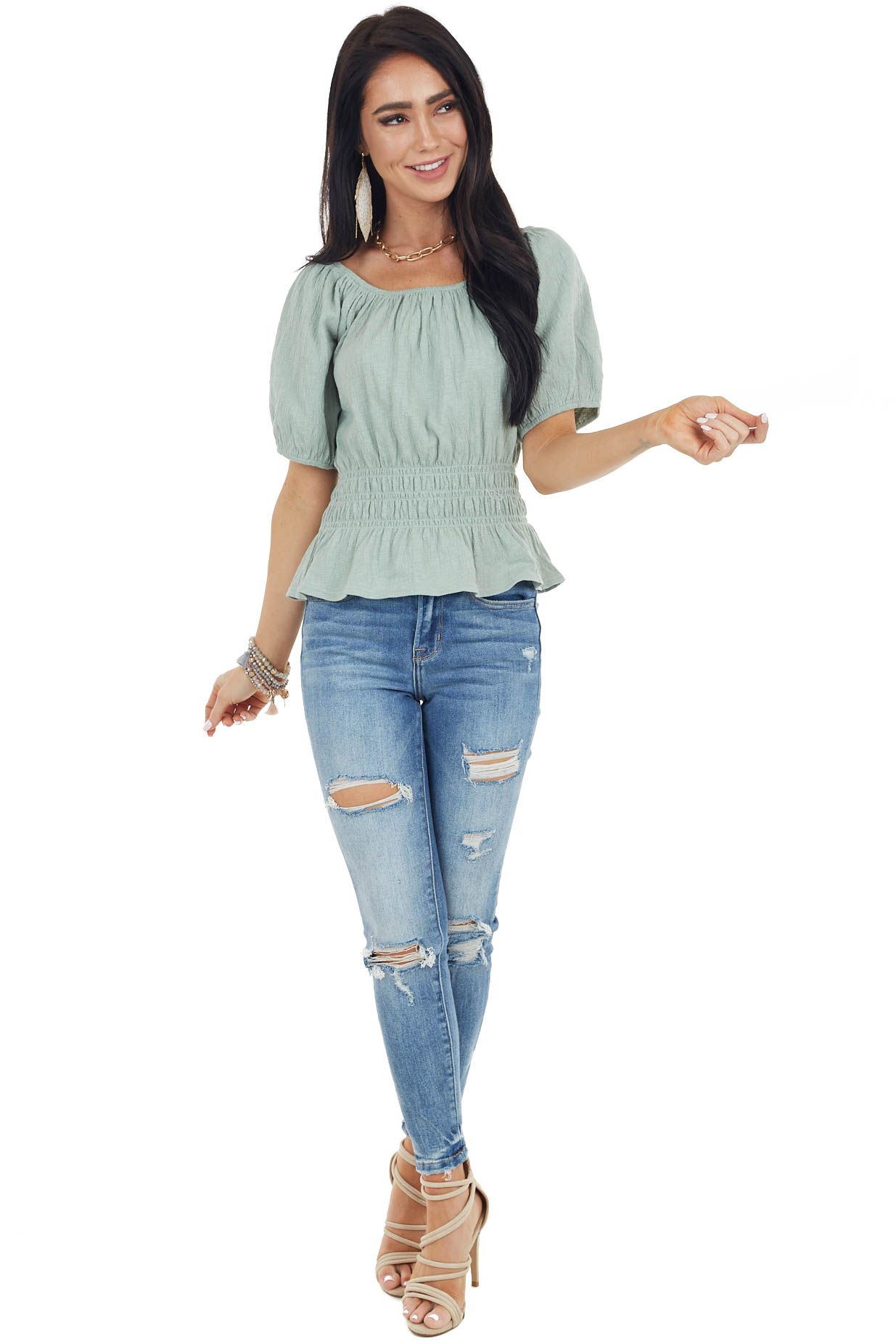 Rich Sage Short Sleeve Peplum Knit Top with Smocked Waist