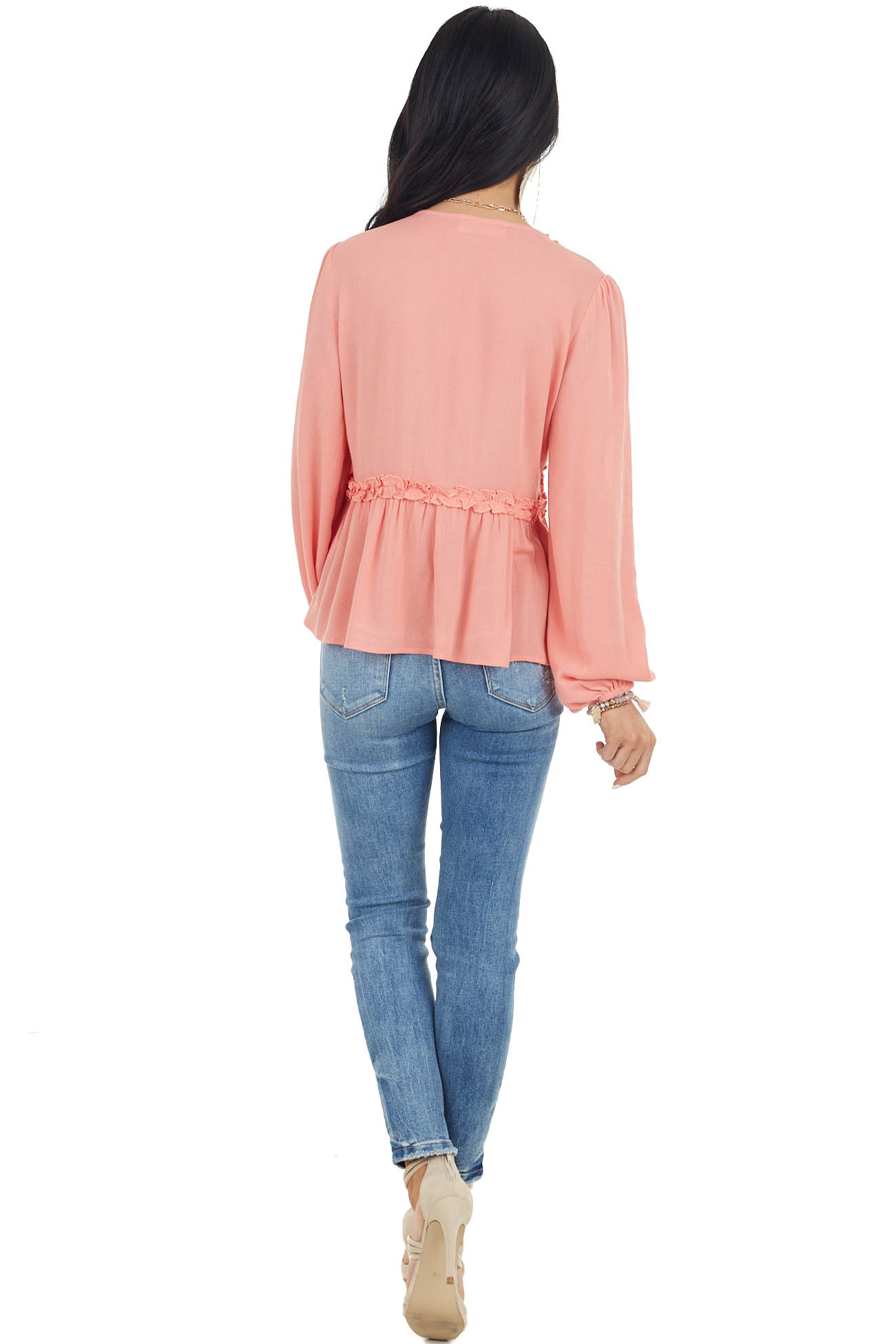 Coral Long Puff Sleeve Babydoll Top with Ruffle Detail