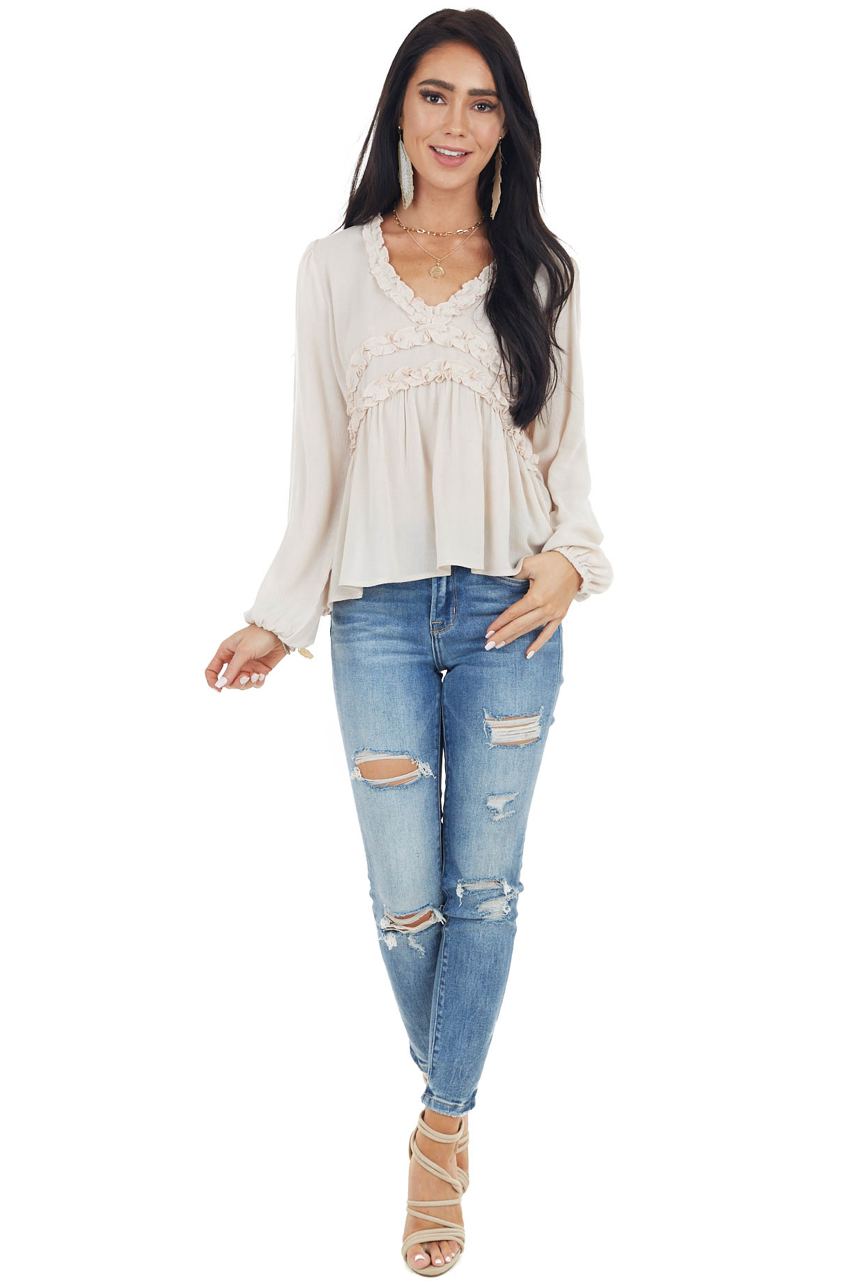 Oatmeal Long Puff Sleeve Babydoll Top with Ruffle Detail