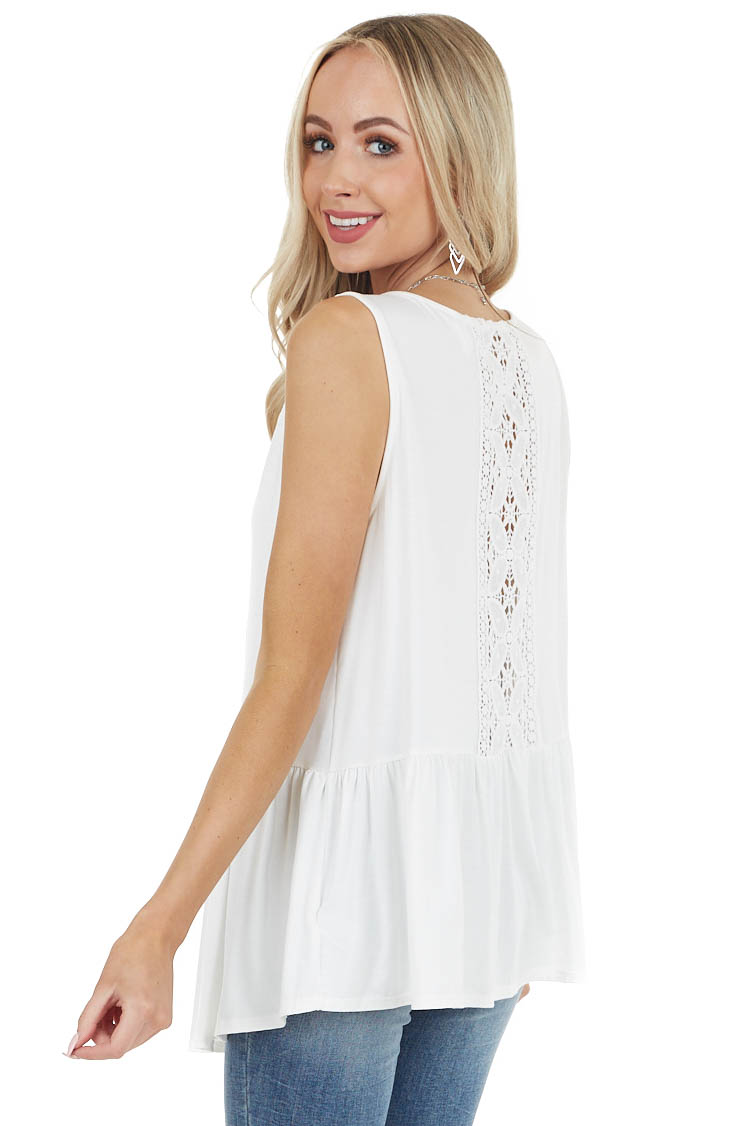 Ivory Peplum Tank Top with Sheer Crotchet Lace Back Detail