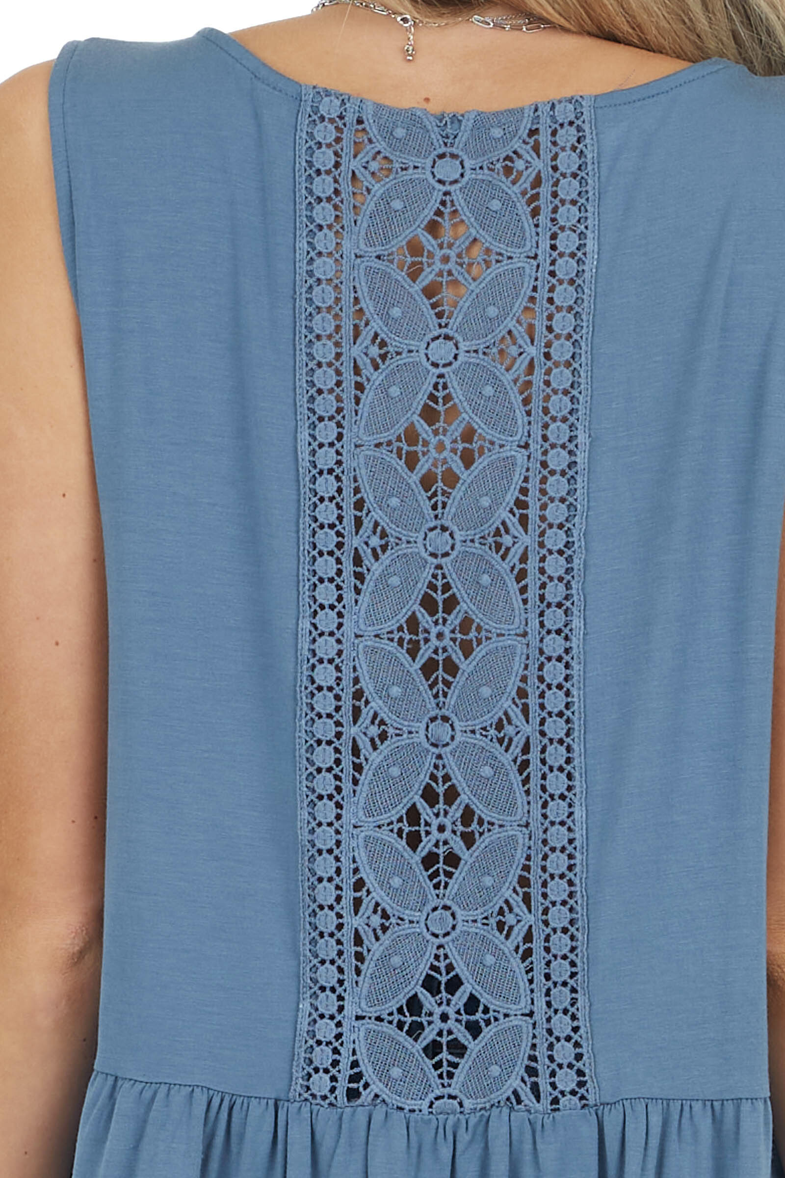 Dark Slate Blue Peplum Tank Top with Sheer Lace Back Detail