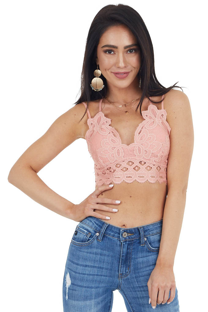 Light Punch Floral Lace Bralette with Criss Cross Straps
