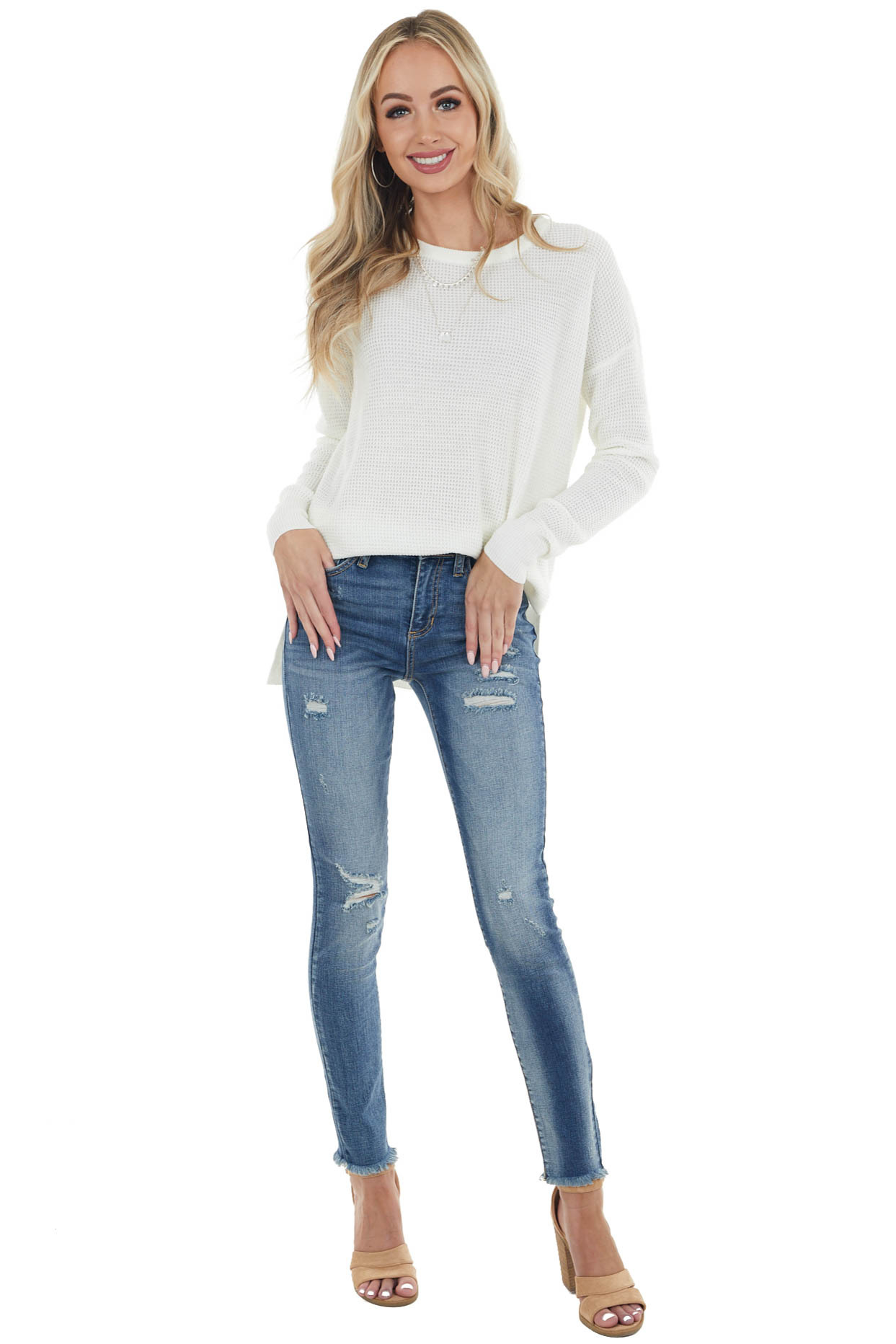 Off White Long Sleeve Waffle Knit Top with Side Slits
