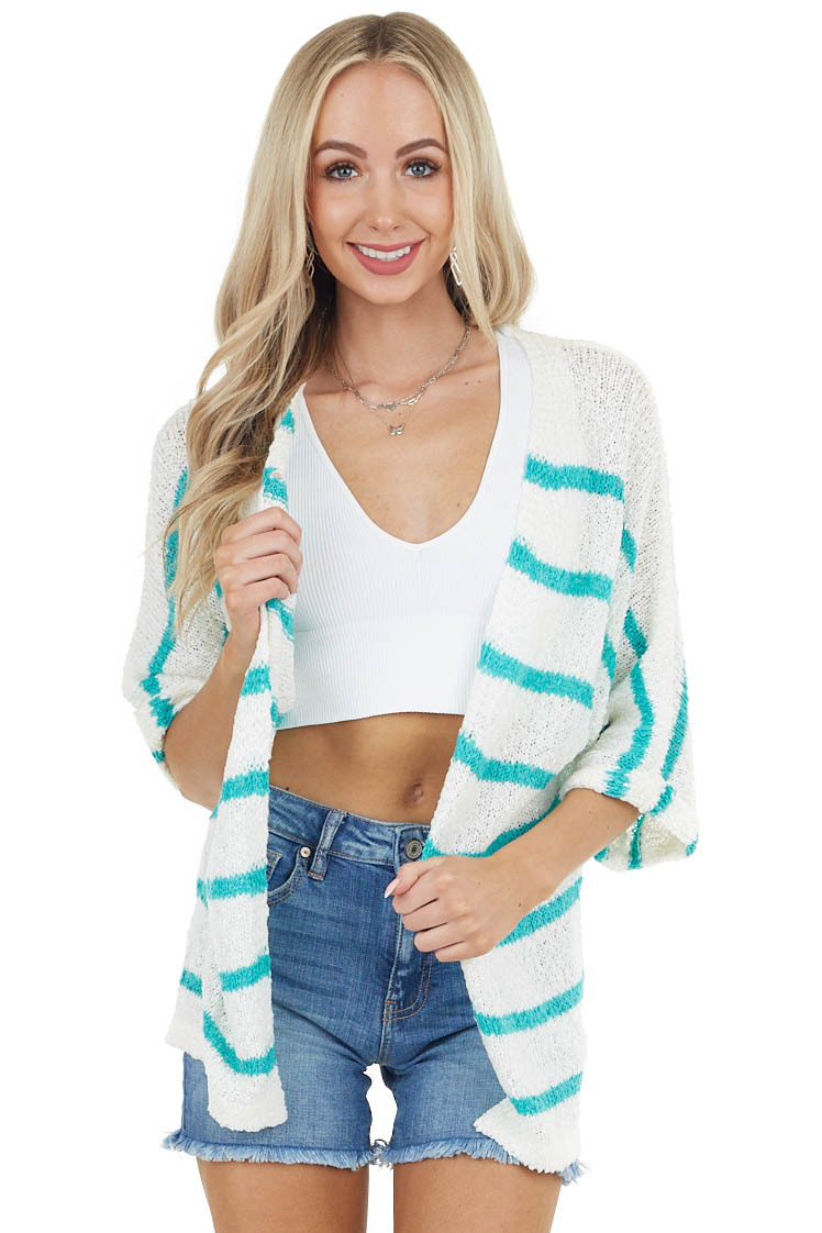 Bright Teal Striped Textured 3/4 Sleeve Knit Cardigan