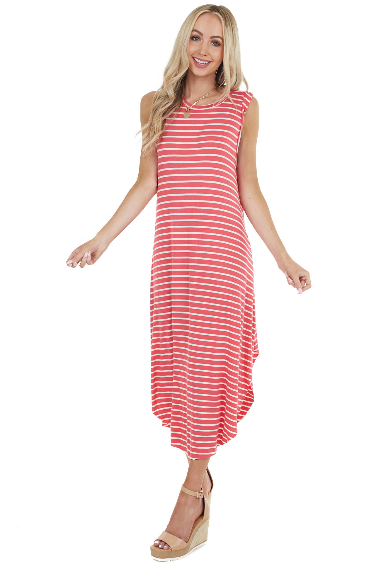 Coral and Ivory Striped Sleeveless Maxi Dress with Round Hem
