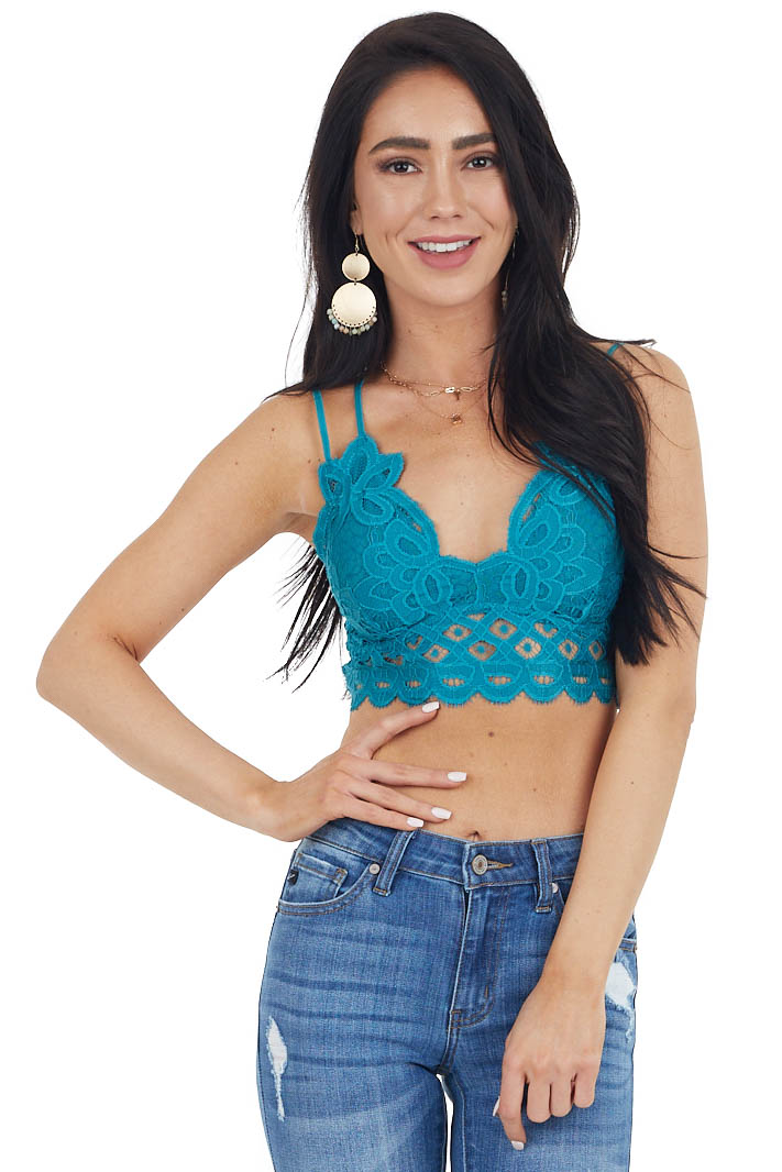 Rich Teal Floral Lace Bralette with Criss Cross Straps